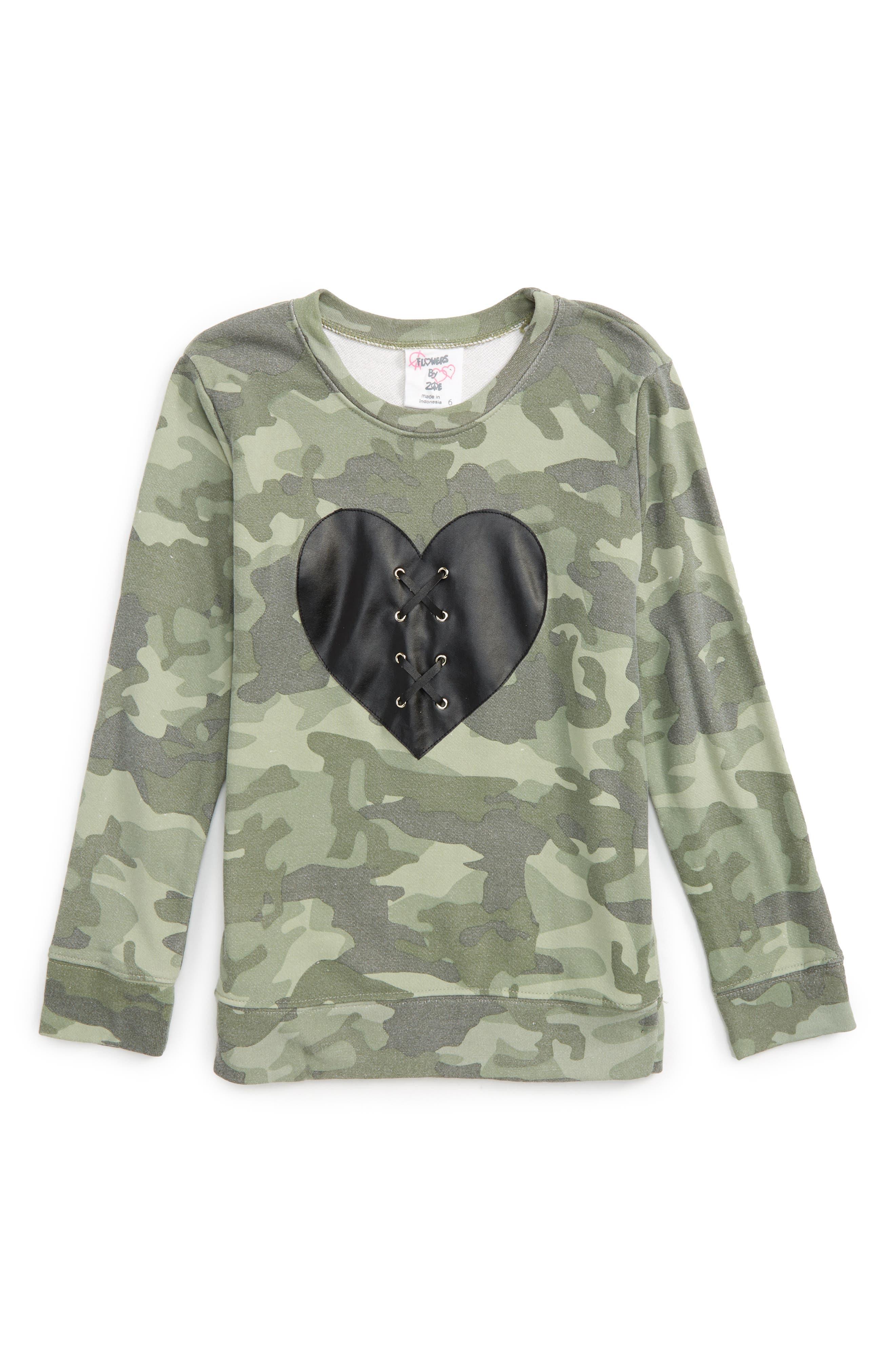 Alternate Image 1 Selected - Flowers by Zoe Lace-Up Heart Camo Sweatshirt (Little Girls & Big Girls)