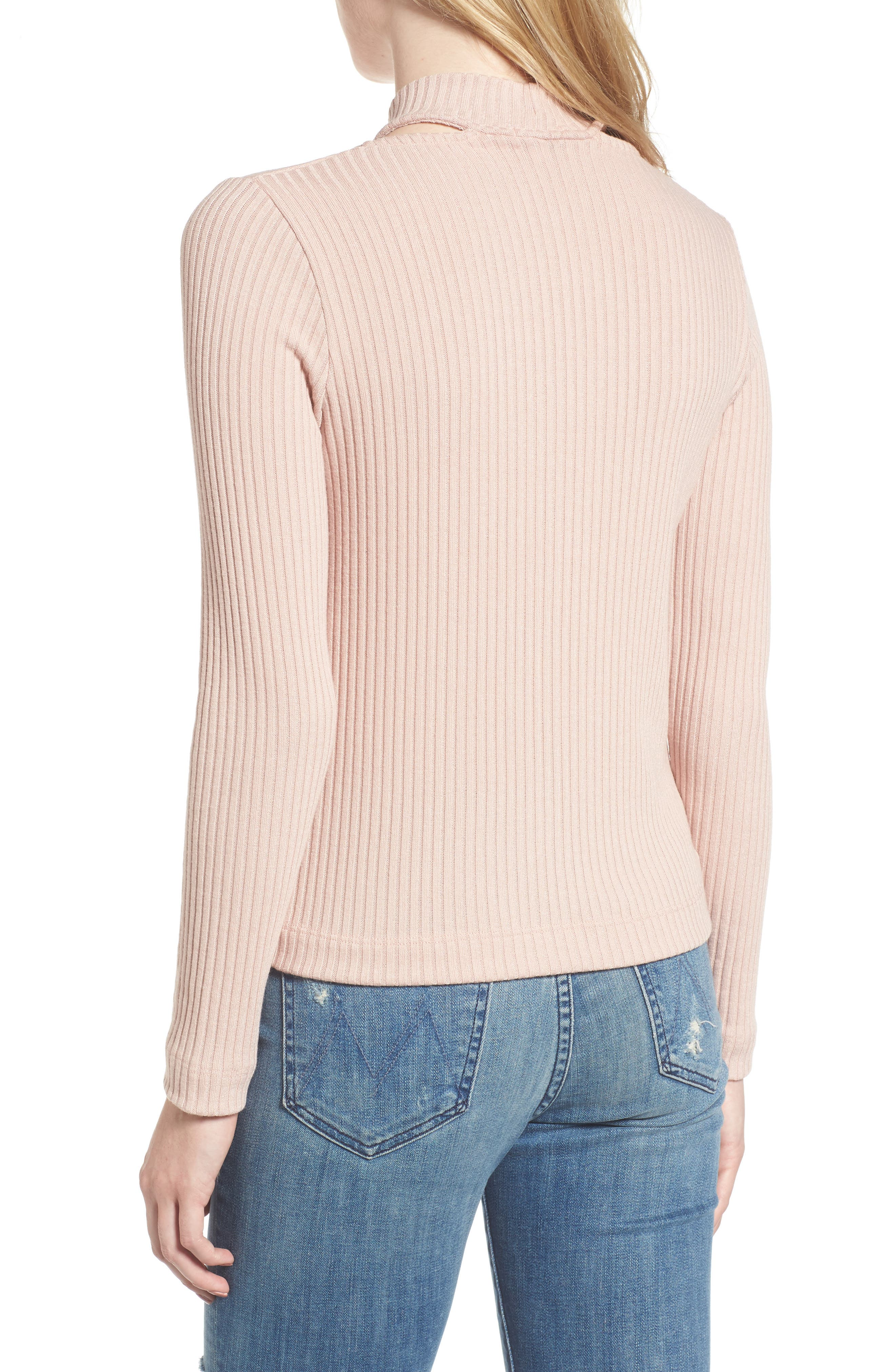 Sylvie Ribbed Mock Neck Sweater,                             Alternate thumbnail 2, color,                             Pink Beige