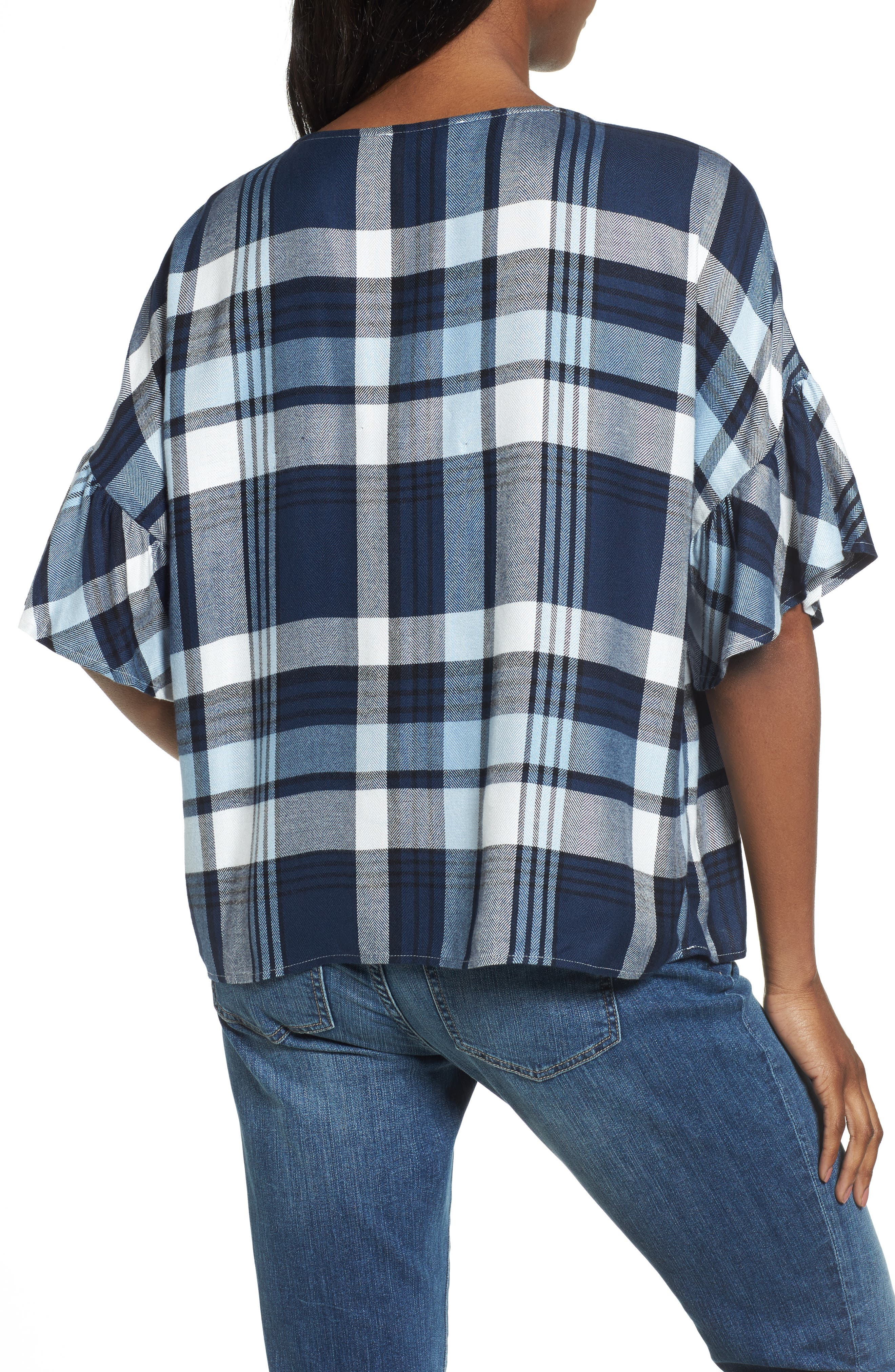 Alternate Image 2  - Two by Vince Camuto Ruffle Sleeve Plaid Top (Regular & Petite)