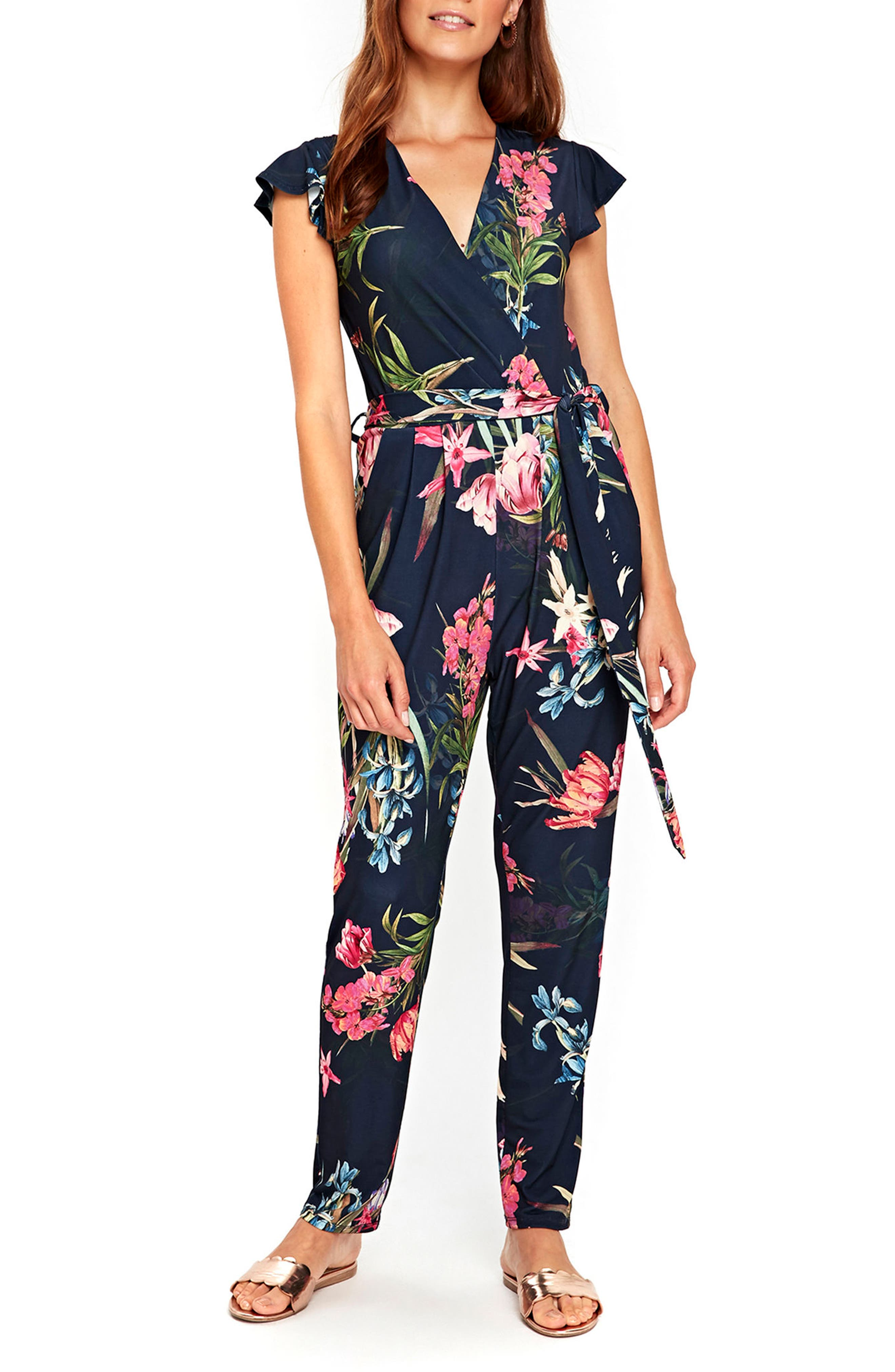 Tulip Blossom Jumpsuit,                             Main thumbnail 1, color,                             Navy