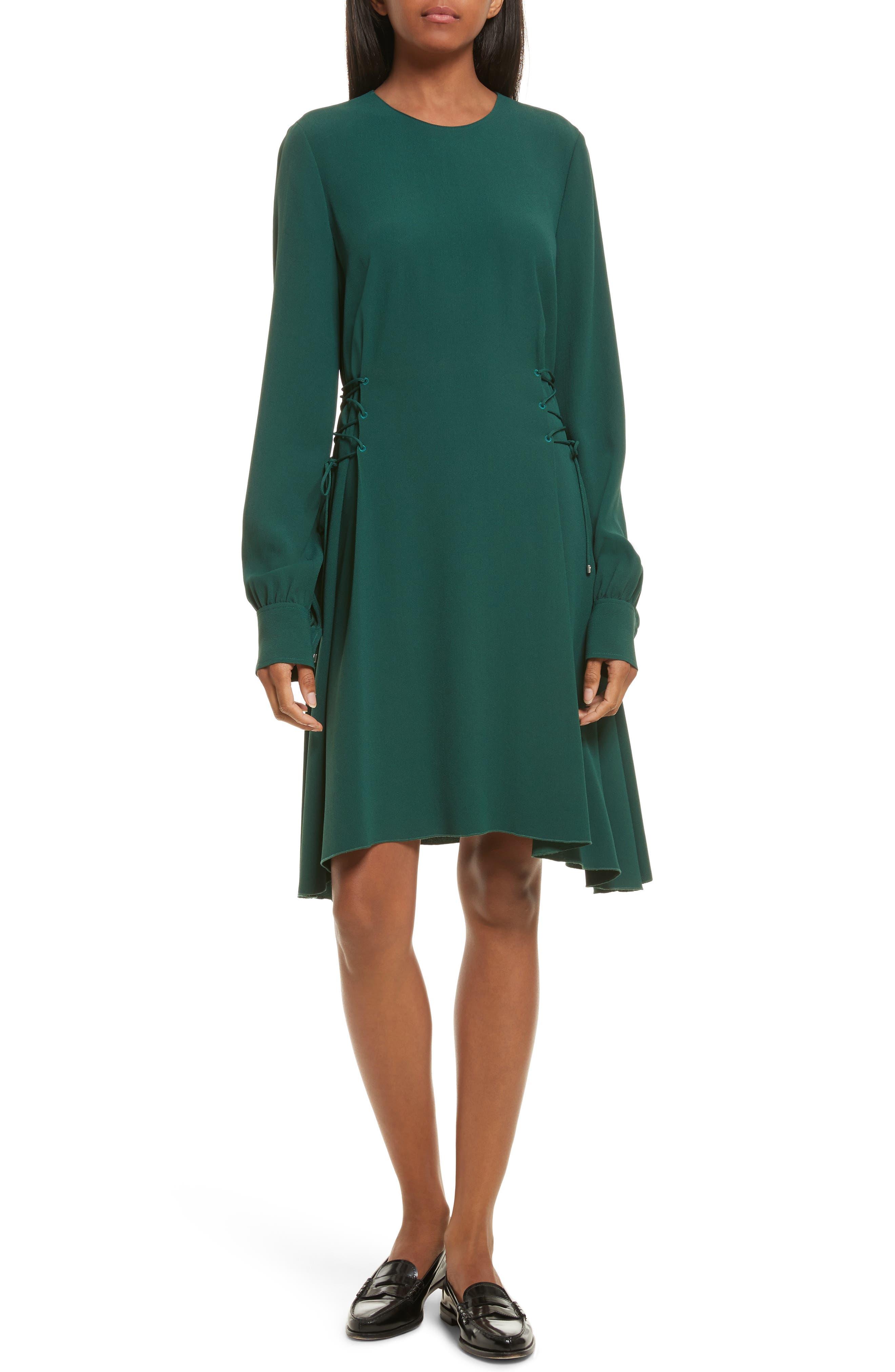 Kensington Lace-Up A-Line Dress,                             Main thumbnail 1, color,                             Bright Hunter