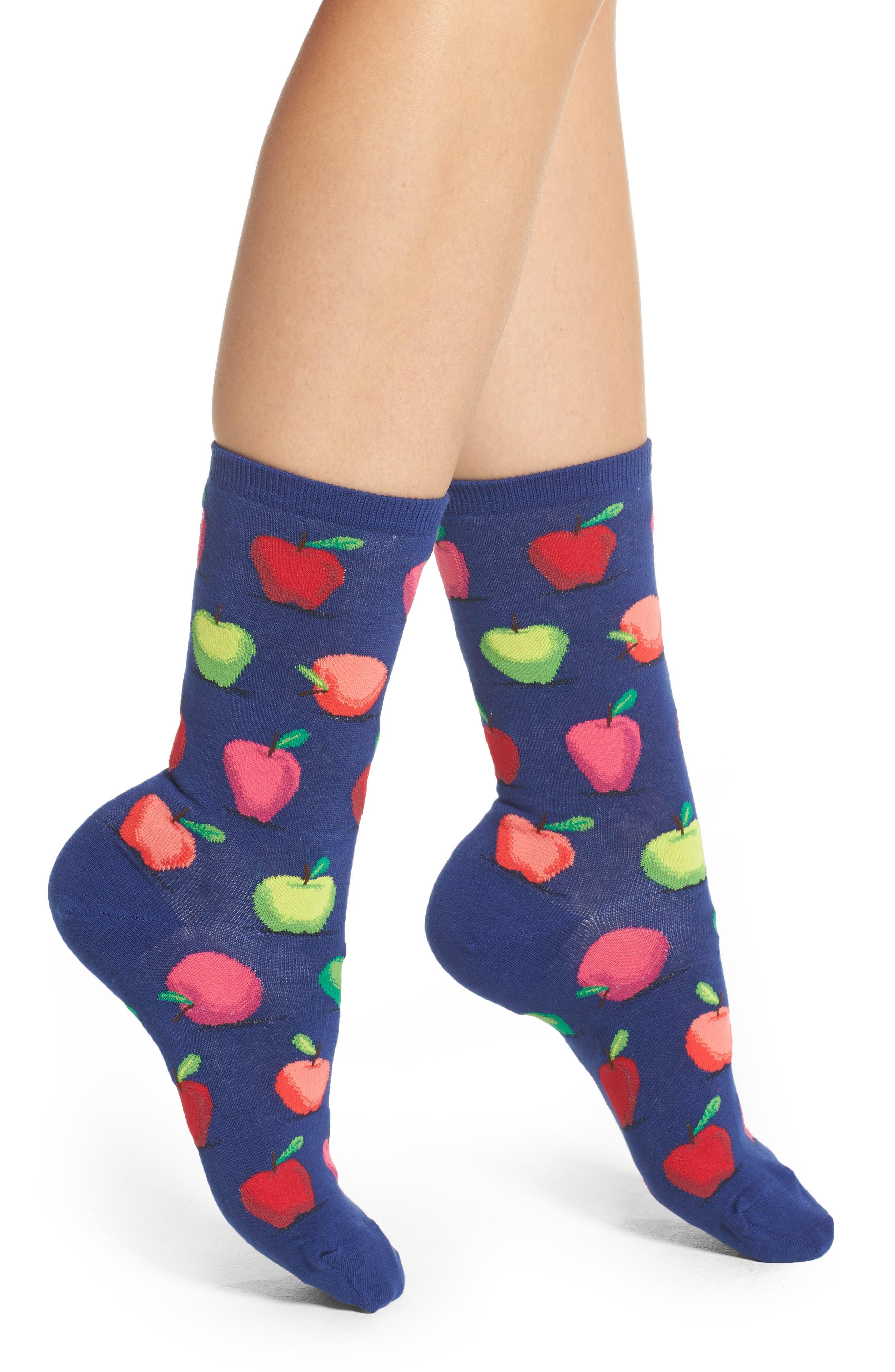 Alternate Image 1 Selected - Hot Sox Apples Crew Socks