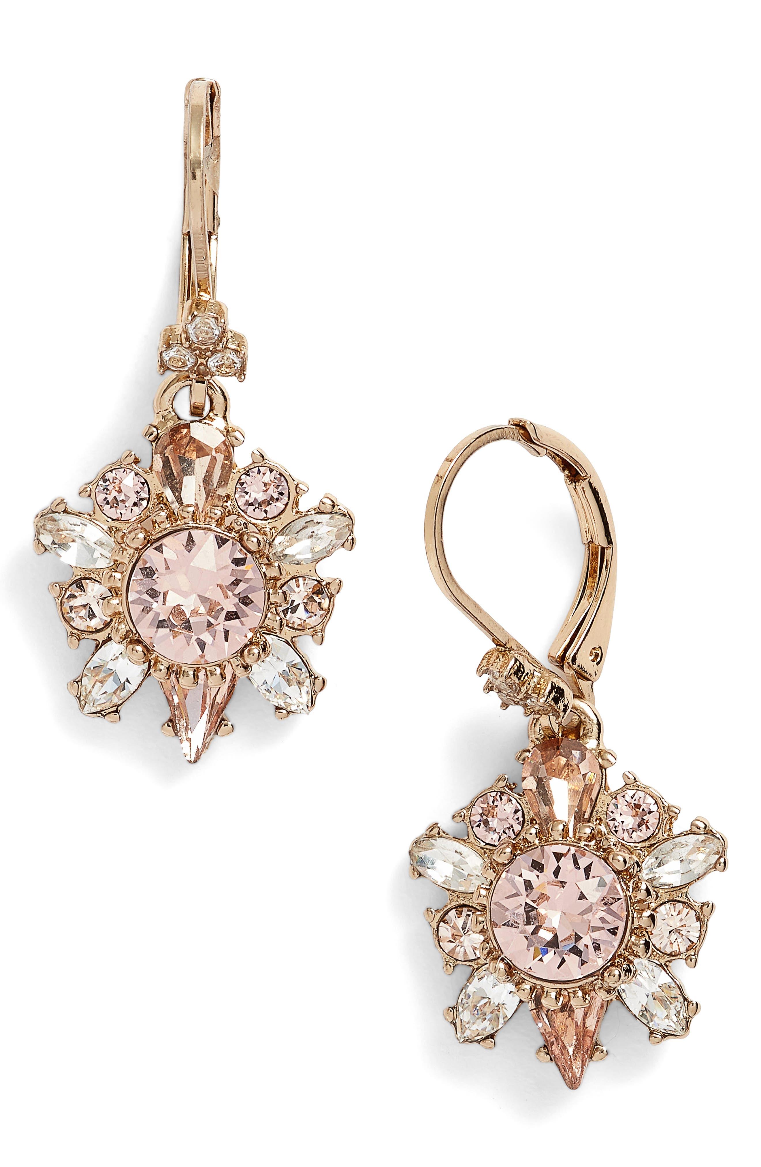 Drop Earrings,                         Main,                         color, Gold/ Vintage Rose
