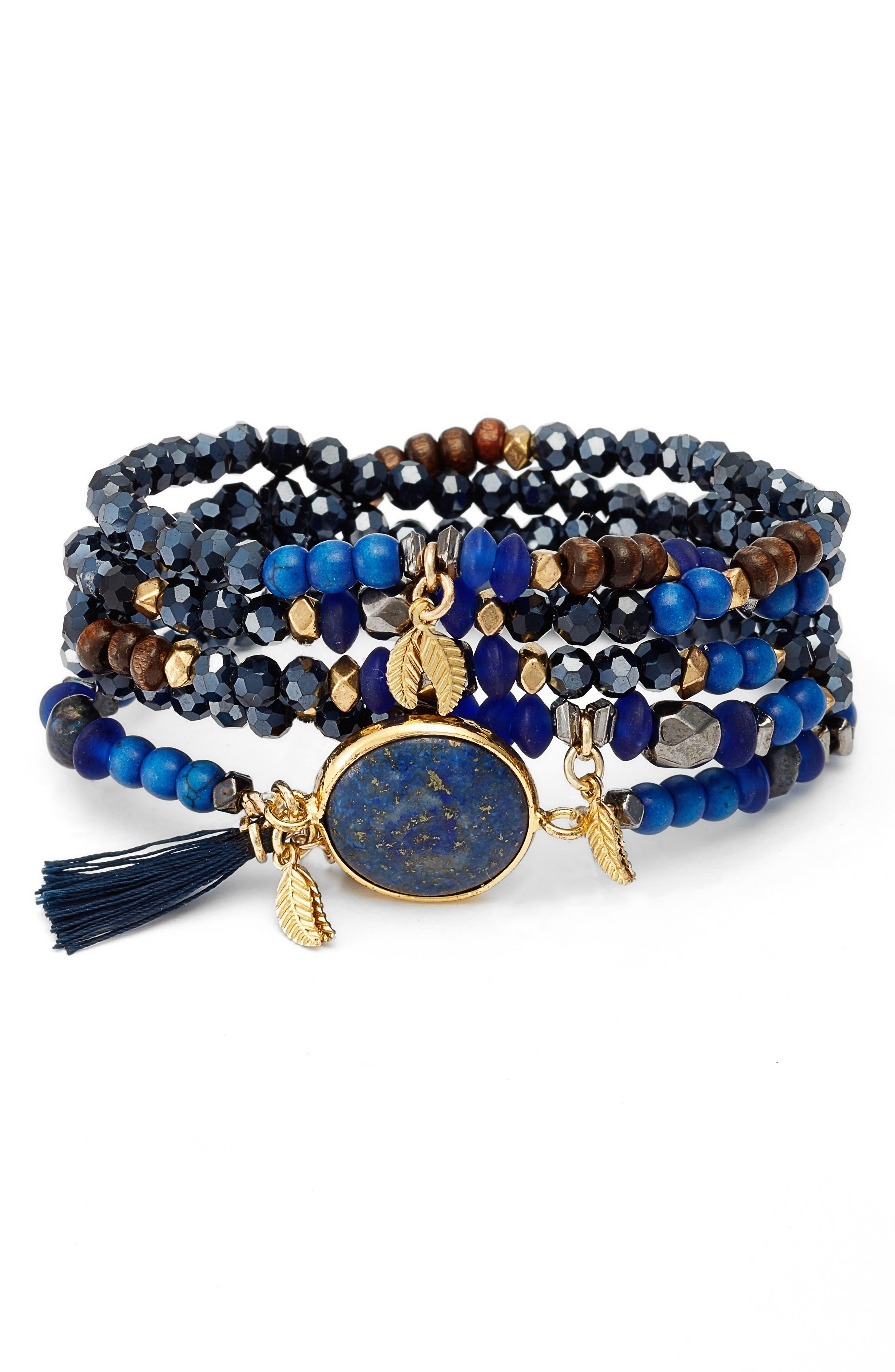 Nakamol Design Crystal & Lapis Stretch Bracelet