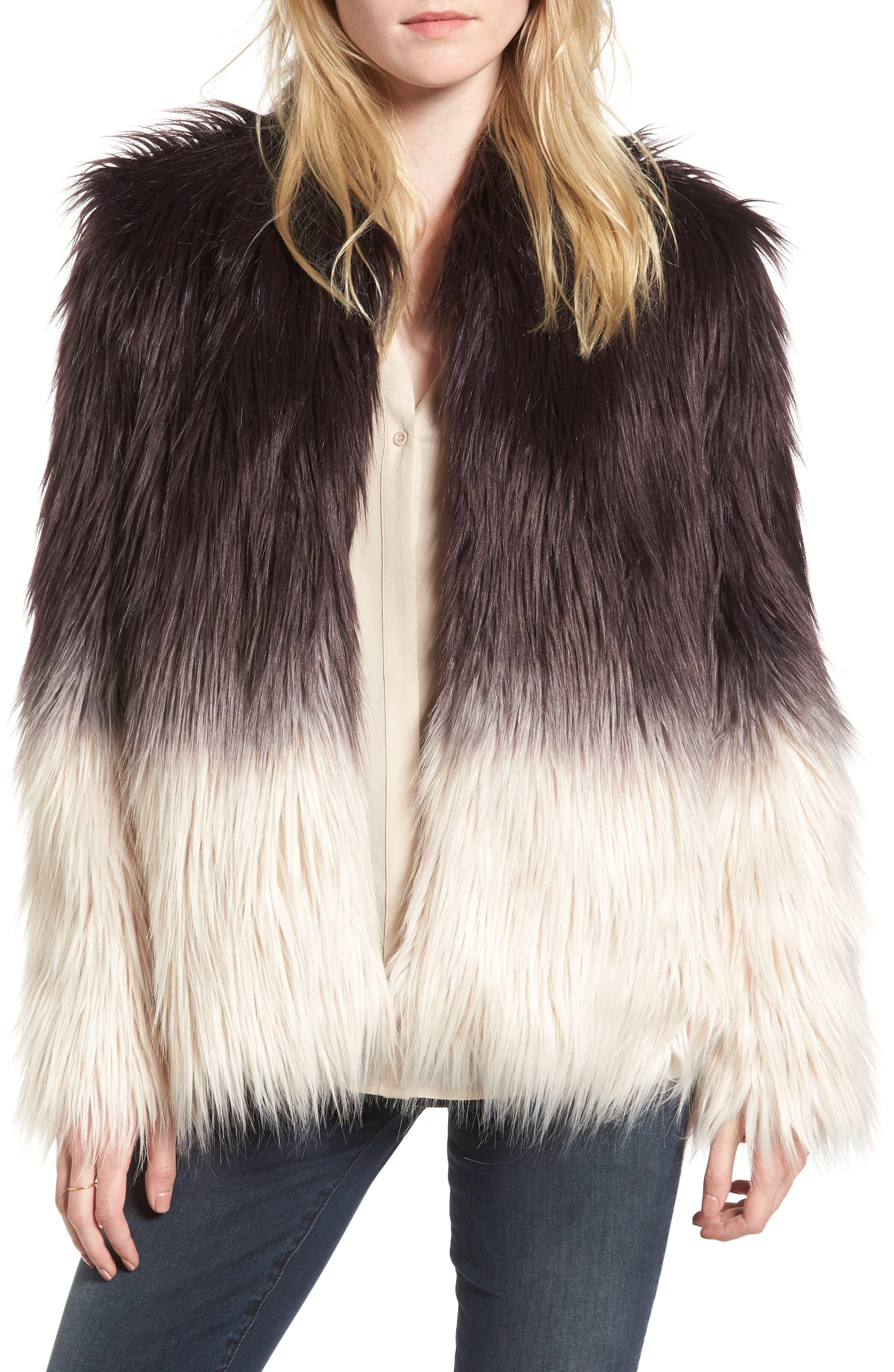 Faux Fur Jacket,                         Main,                         color, Purple Combo