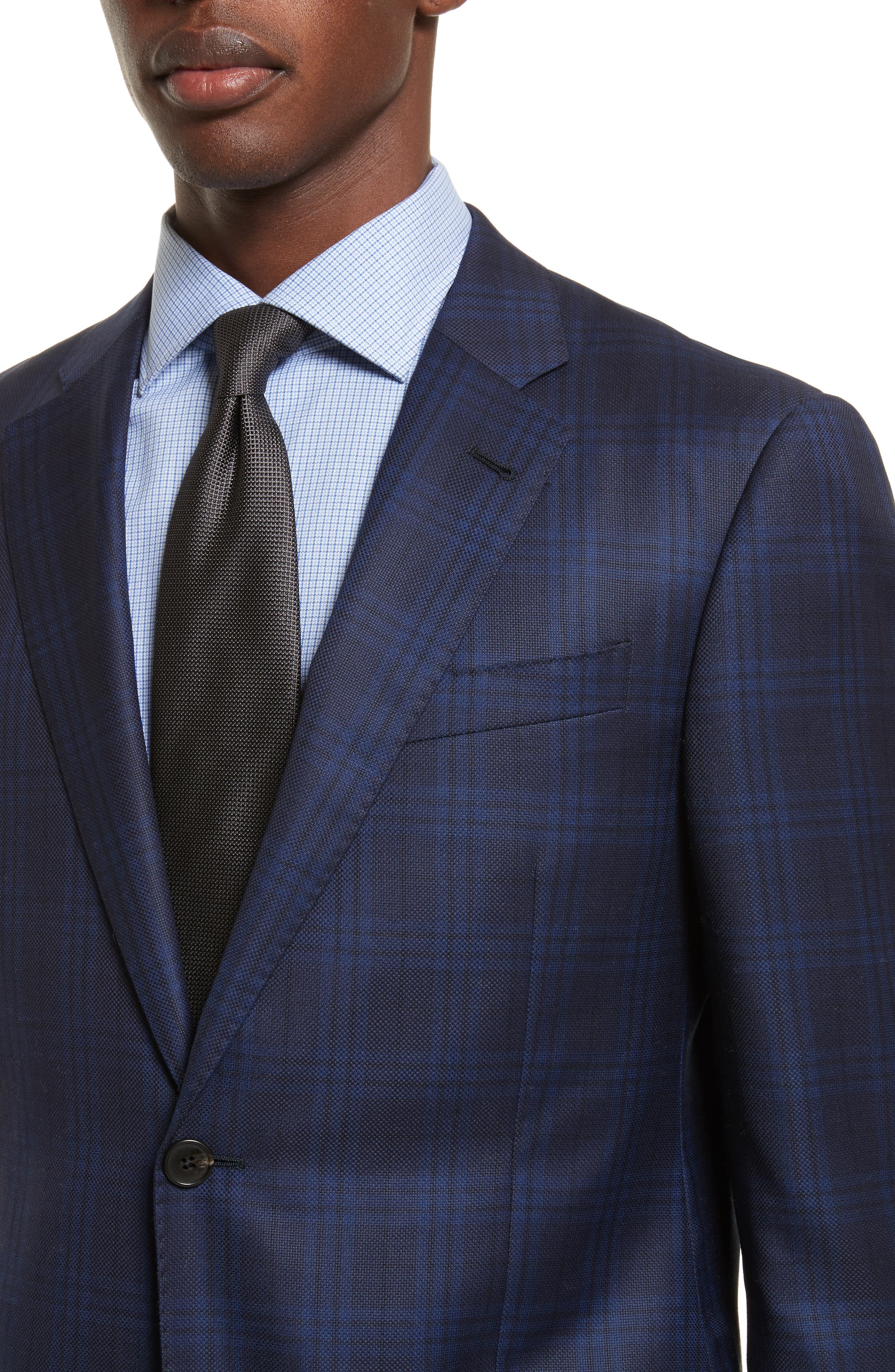 G-Line Trim Fit Houndstooth Wool Sport Coat,                             Alternate thumbnail 4, color,                             Navy