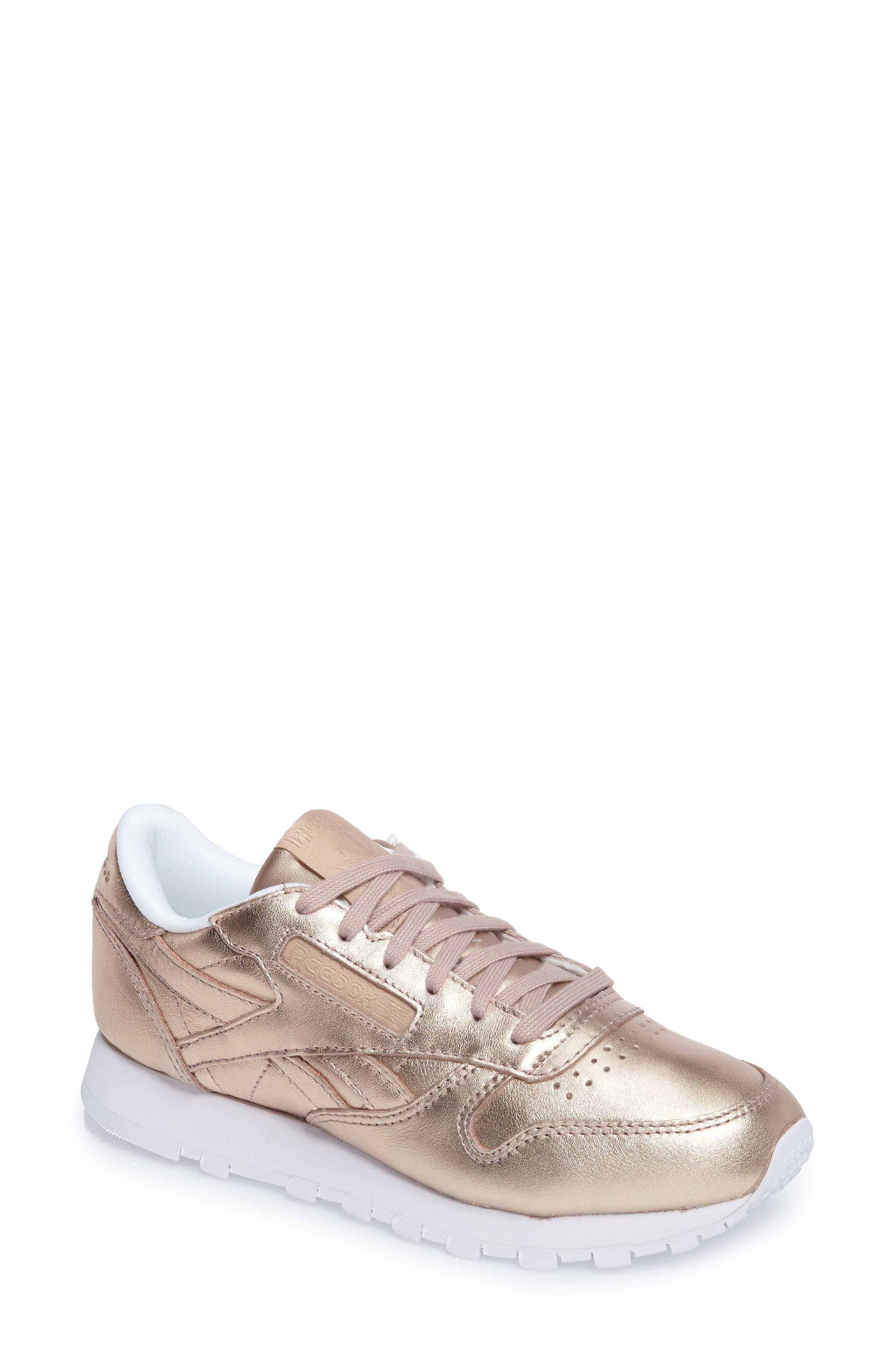 c4df50f808550b Reebok Women S Classic Leather Metallic Casual Sneakers From Finish Line In  Peach  White Pearl