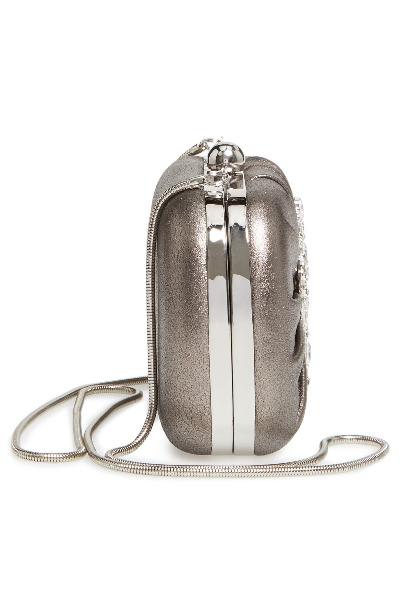 Diva Metallic Leather Clutch,                             Alternate thumbnail 5, color,                             Pewter