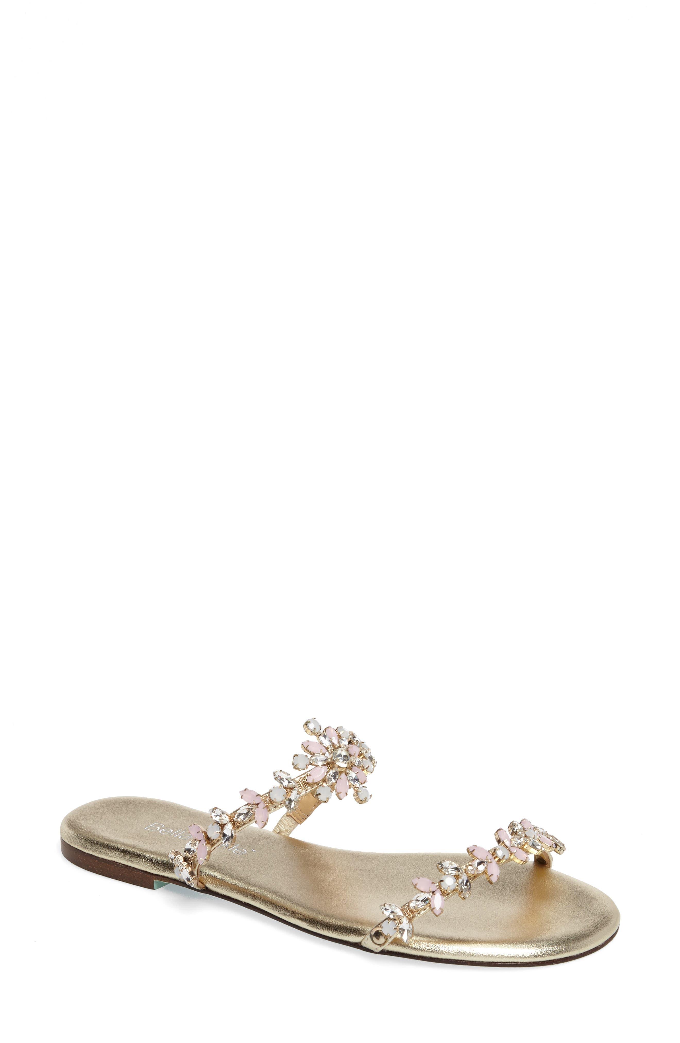 Jules Slide Sandal,                         Main,                         color, Soft Gold Leather