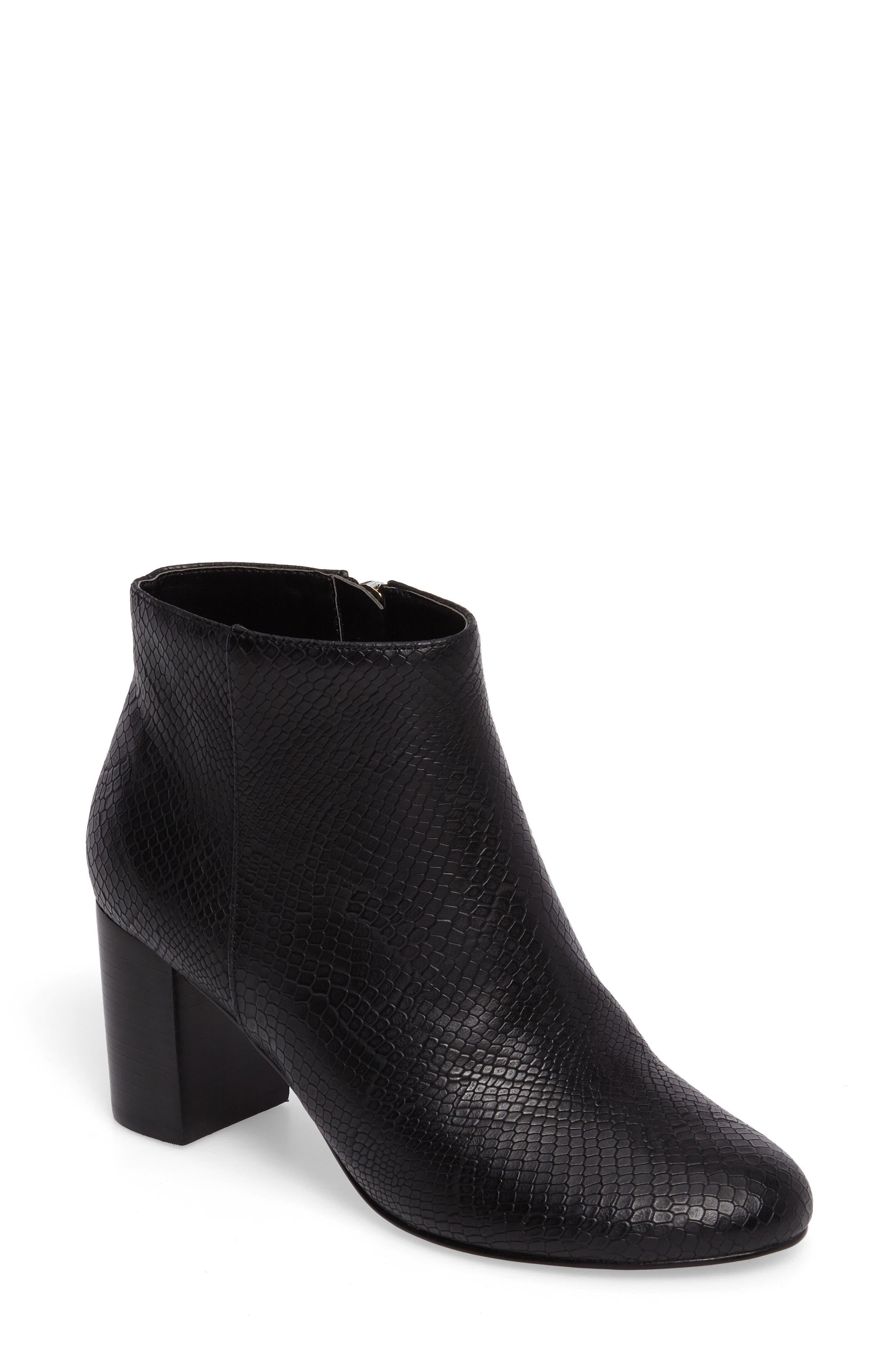 Klaudia II Block Heel Bootie,                             Main thumbnail 1, color,                             Black Printed Leather
