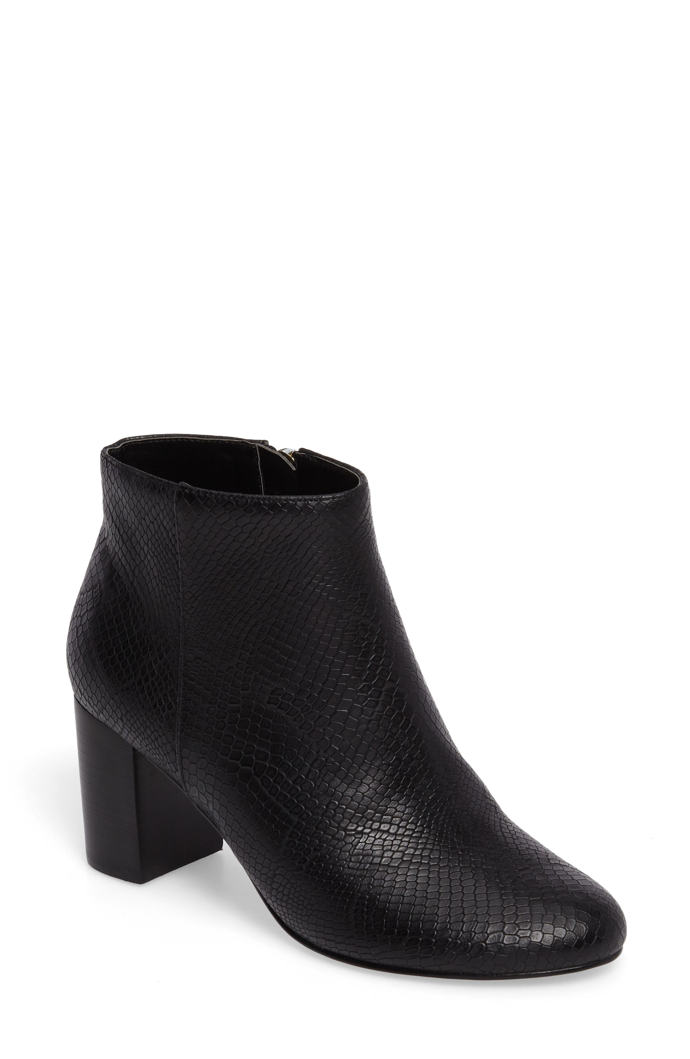 Klaudia II Block Heel Bootie,                         Main,                         color, Black Printed Leather