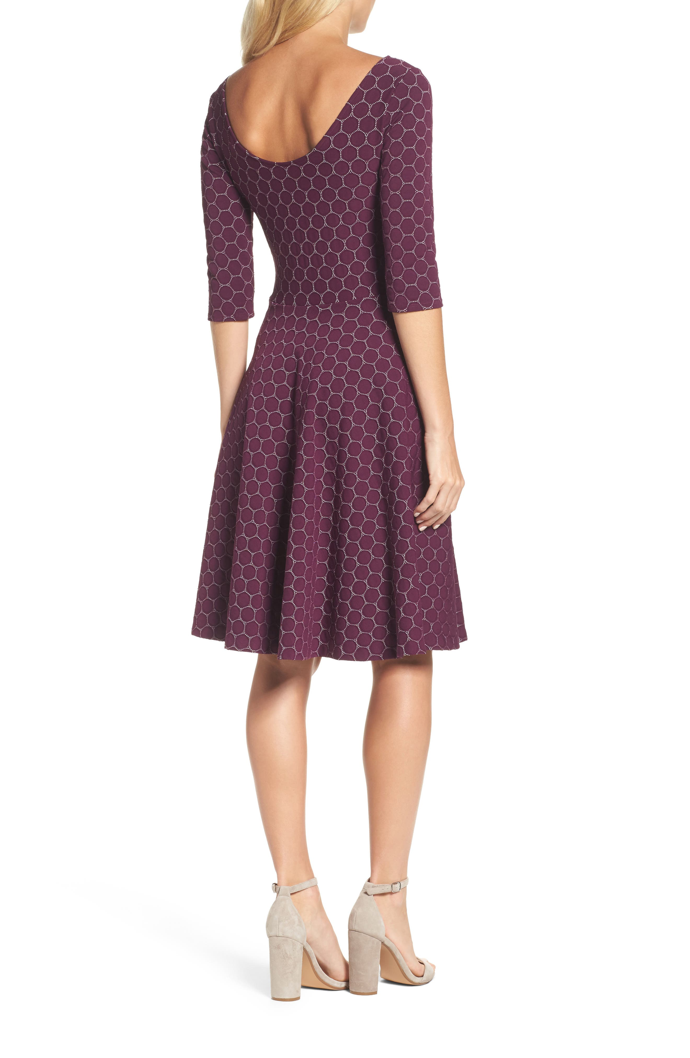 Circle Knit Fit & Flare Dress,                             Alternate thumbnail 2, color,                             Purple