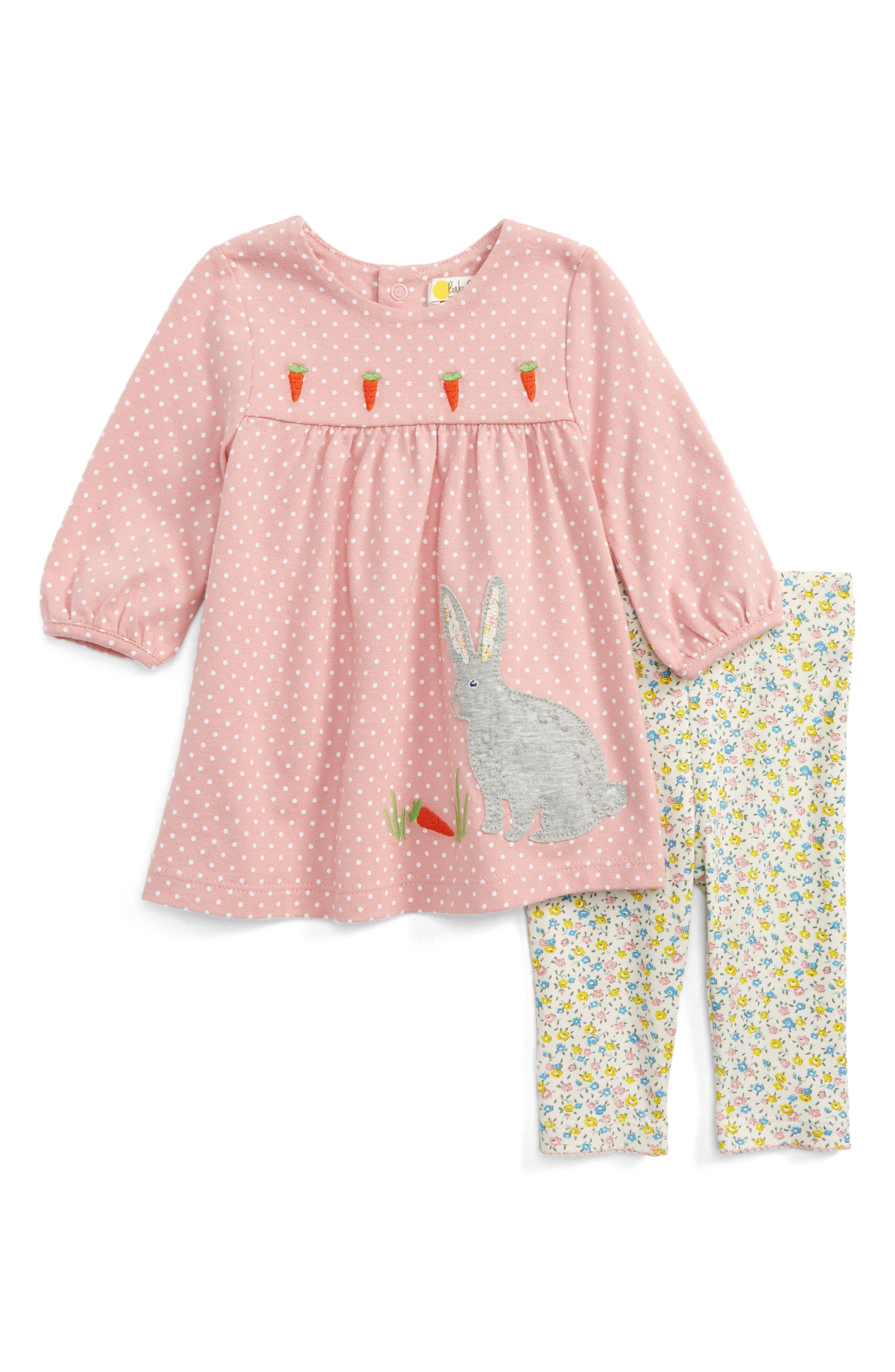 Main Image - Mini Boden Appliqué Dress & Leggings Set (Baby Girls & Toddler Girls)