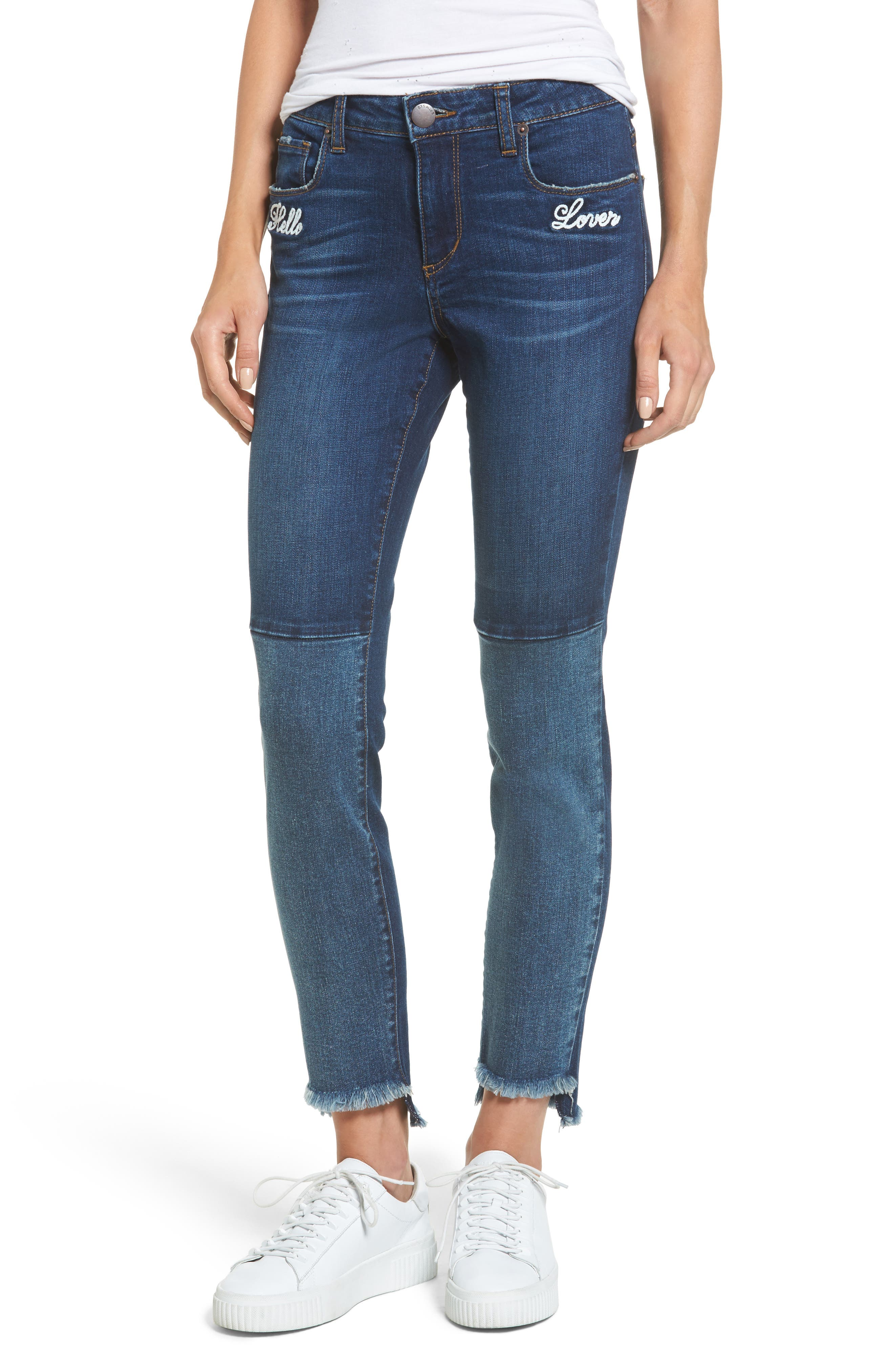 Piper Embroidered Skinny Jeans,                             Main thumbnail 1, color,                             Valencia
