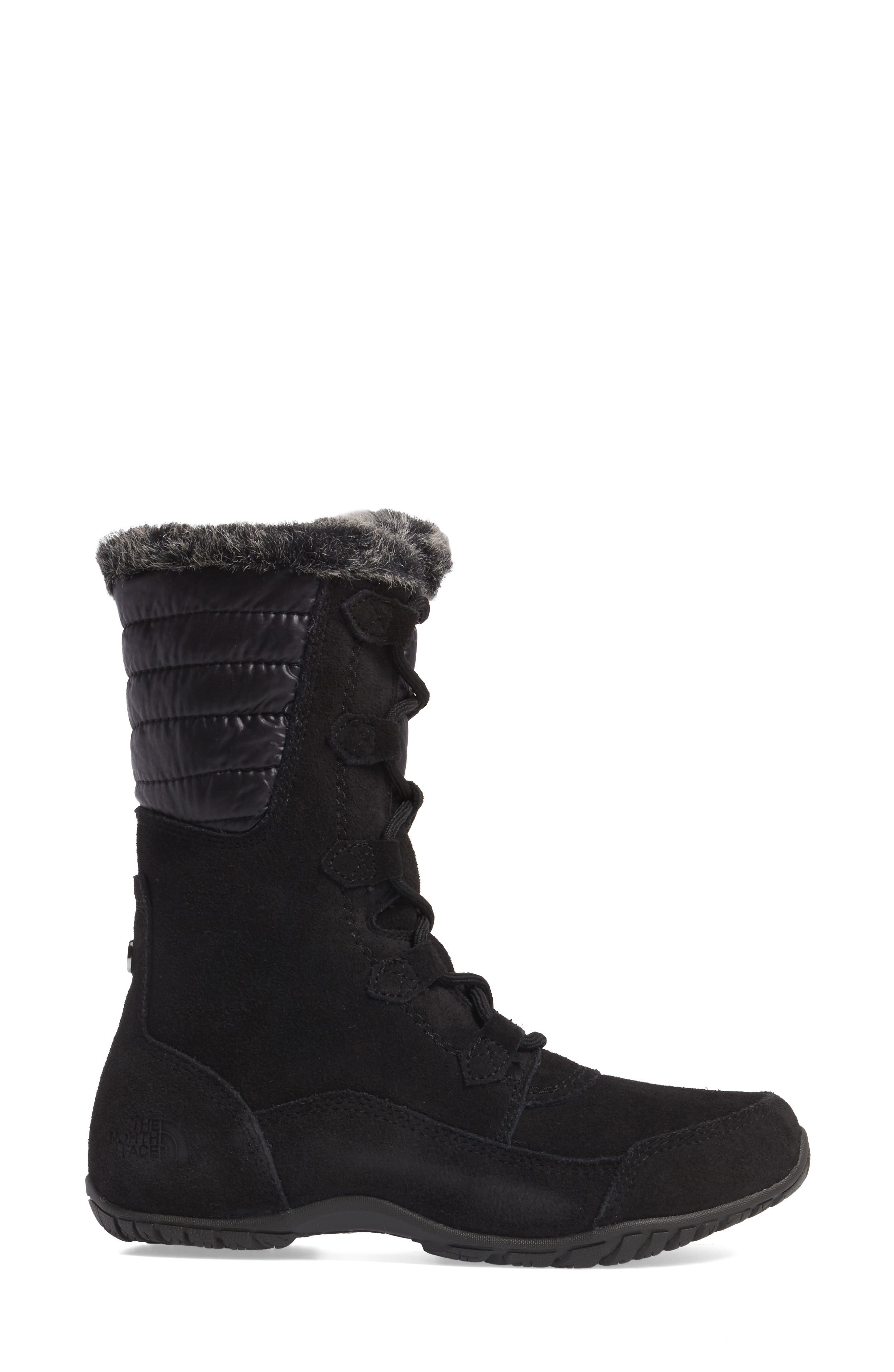 Nuptse Purna II Waterproof PrimaLoft<sup>®</sup> Silver Eco Insulated Winter Boot,                             Alternate thumbnail 3, color,                             Tnf Black/ Beluga Grey