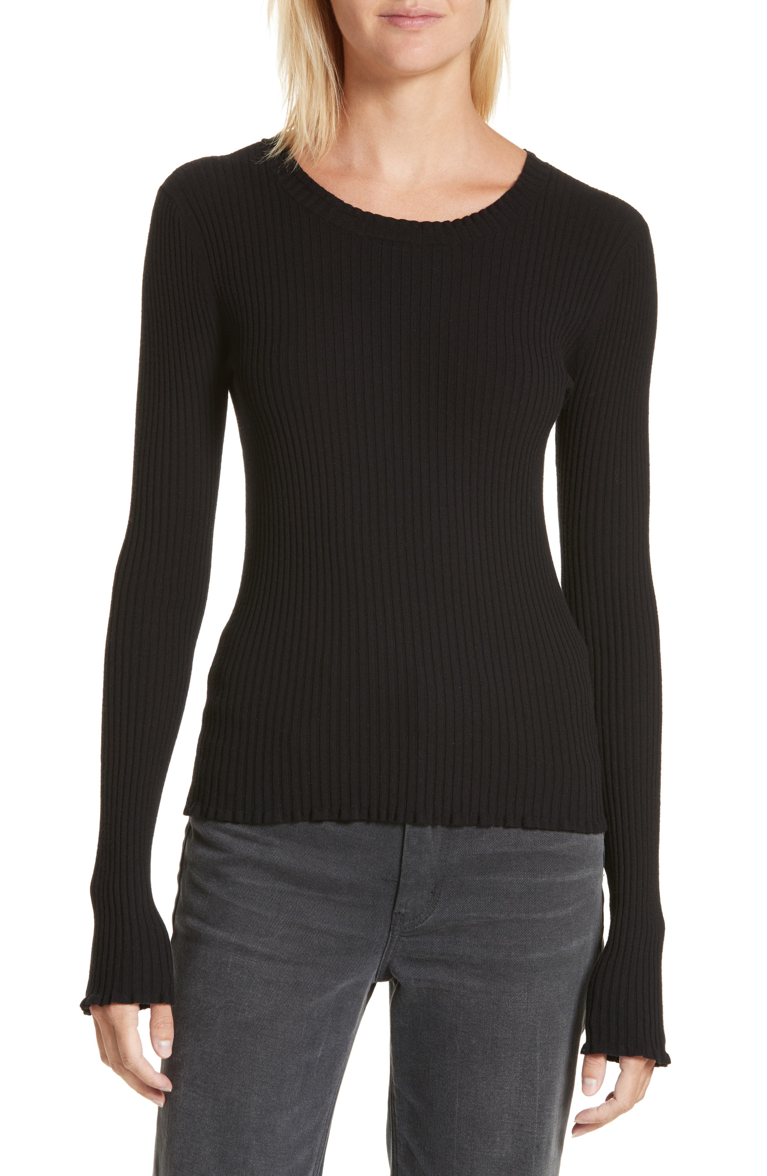 Rib Knit Scoop Neck Sweater,                             Main thumbnail 1, color,                             Black