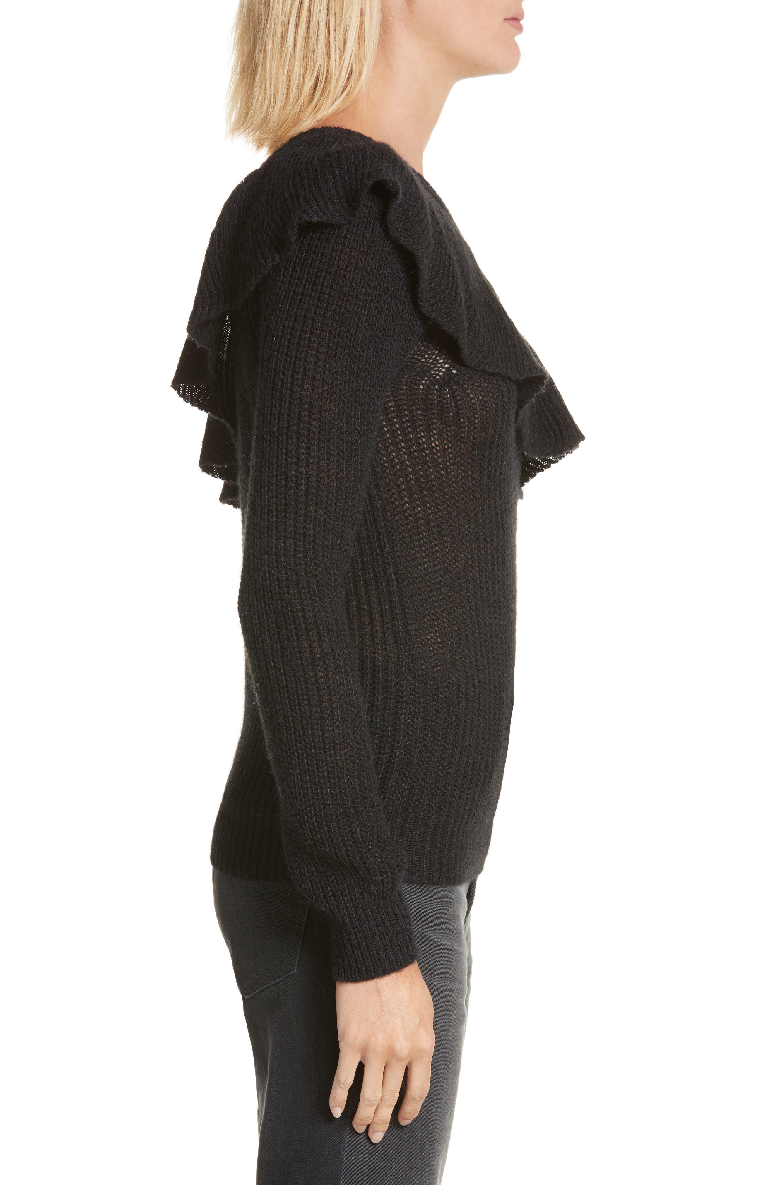 One-Shoulder Ruffle Sweater,                             Alternate thumbnail 3, color,                             Black