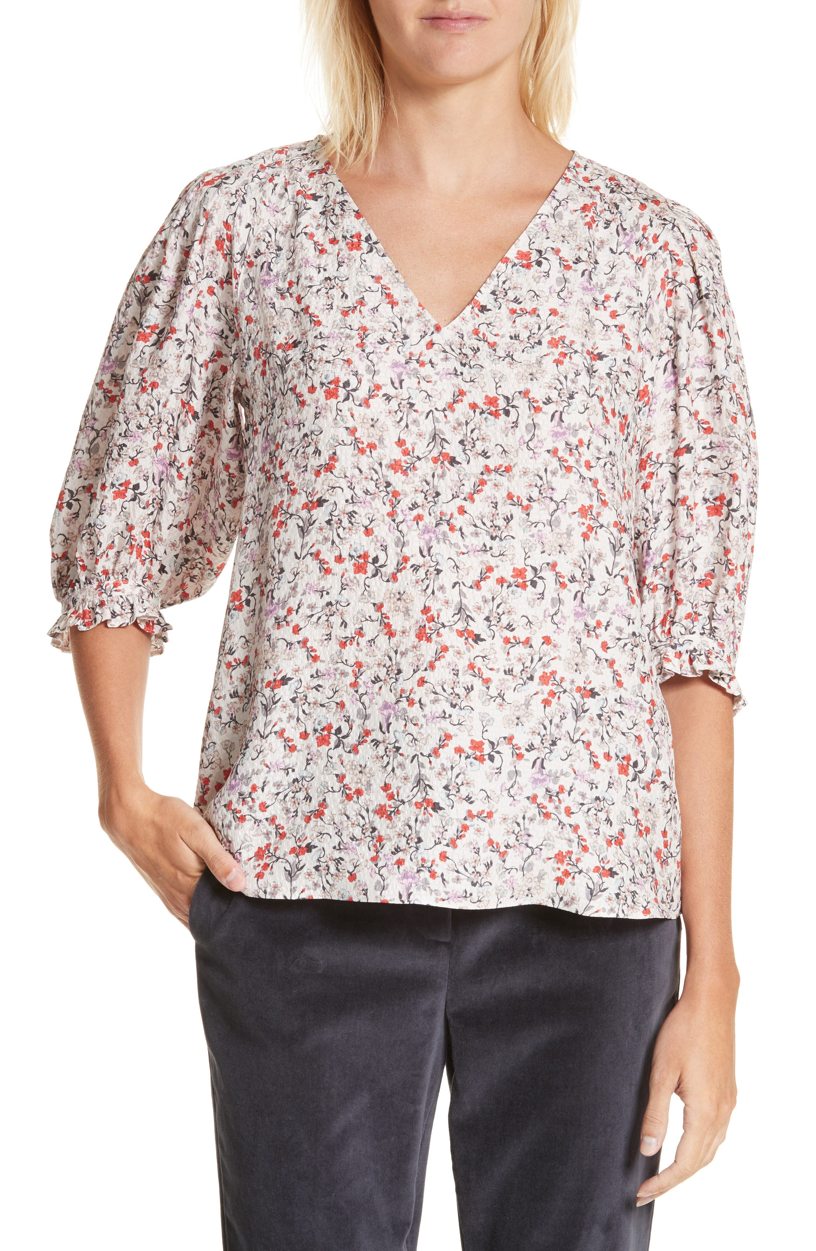 Alternate Image 1 Selected - Rebecca Taylor Lyra Floral Silk Top