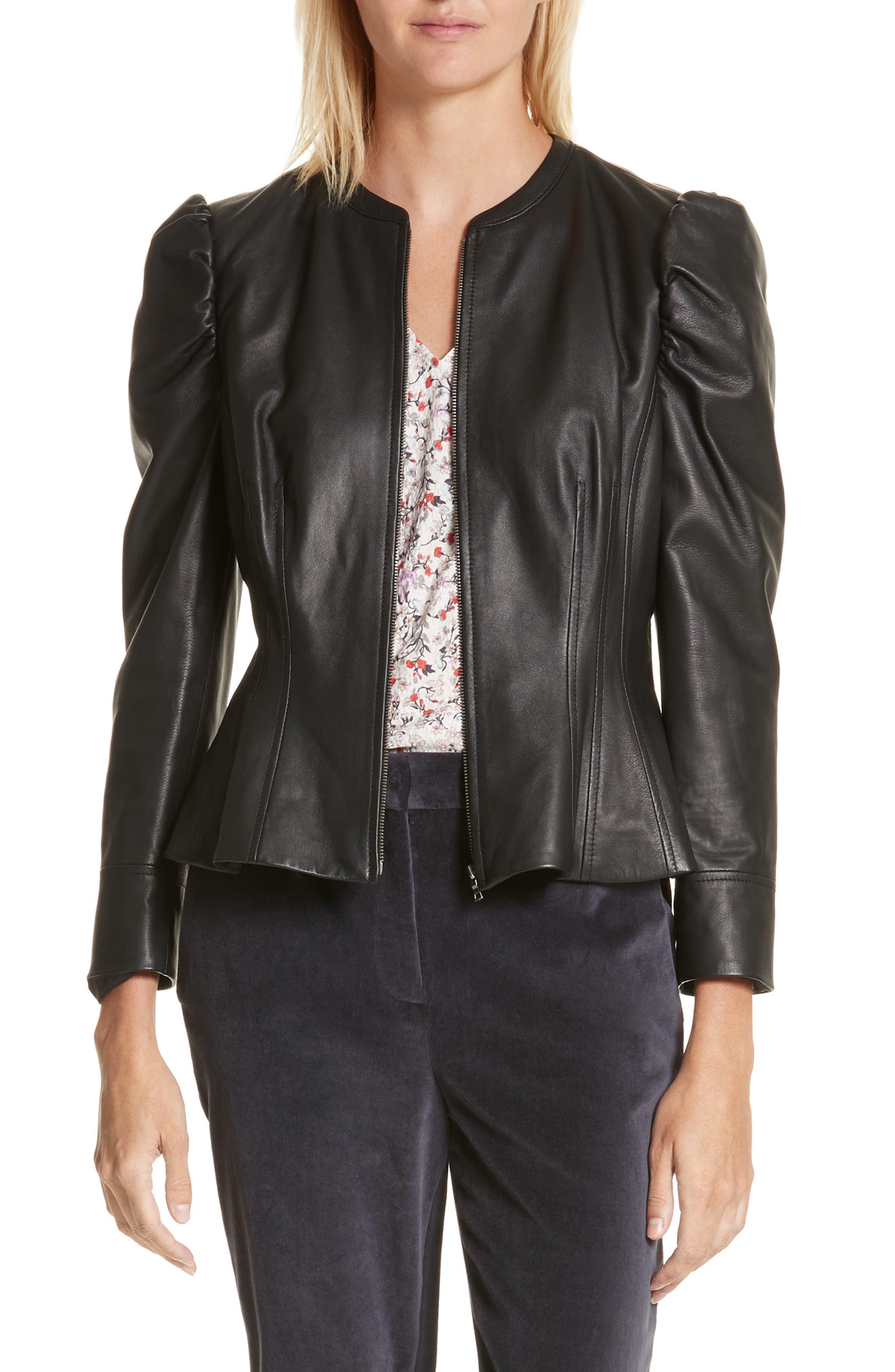 Victorian Leather Jacket,                         Main,                         color, Black