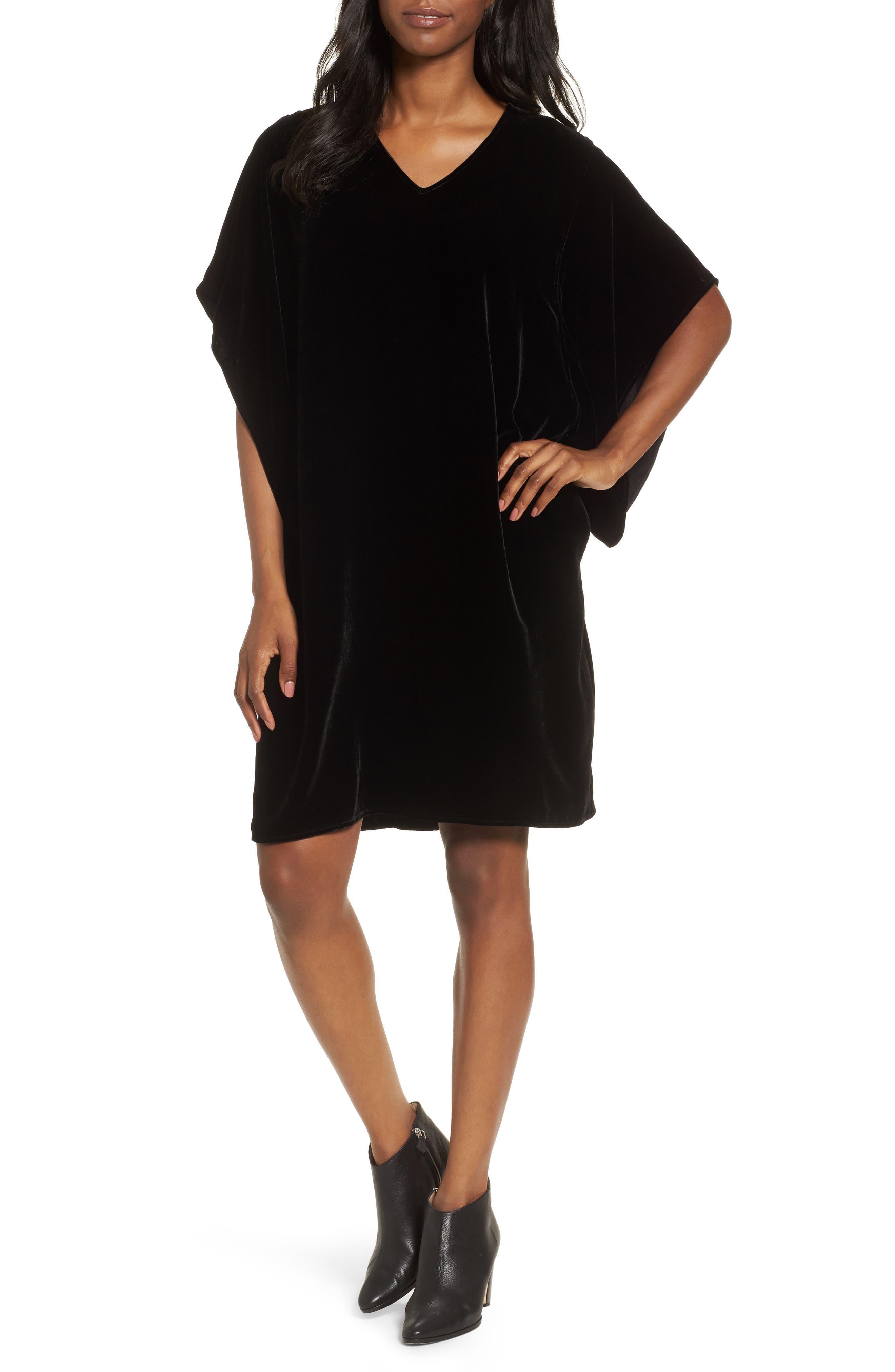 Eileen Fisher V-Neck Velvet Kimono Dress