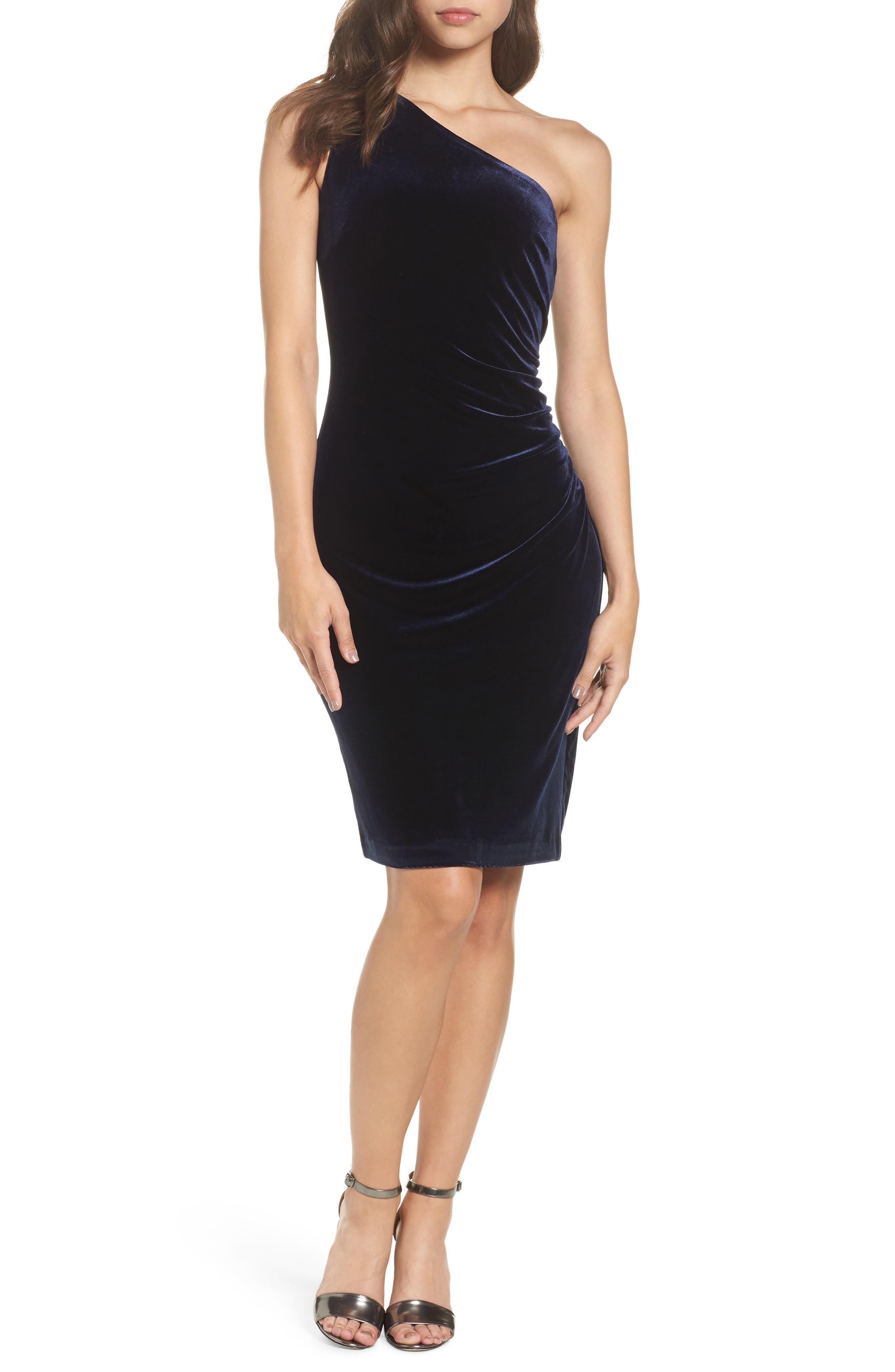 One-Shoulder Velvet Dress,                         Main,                         color, Navy