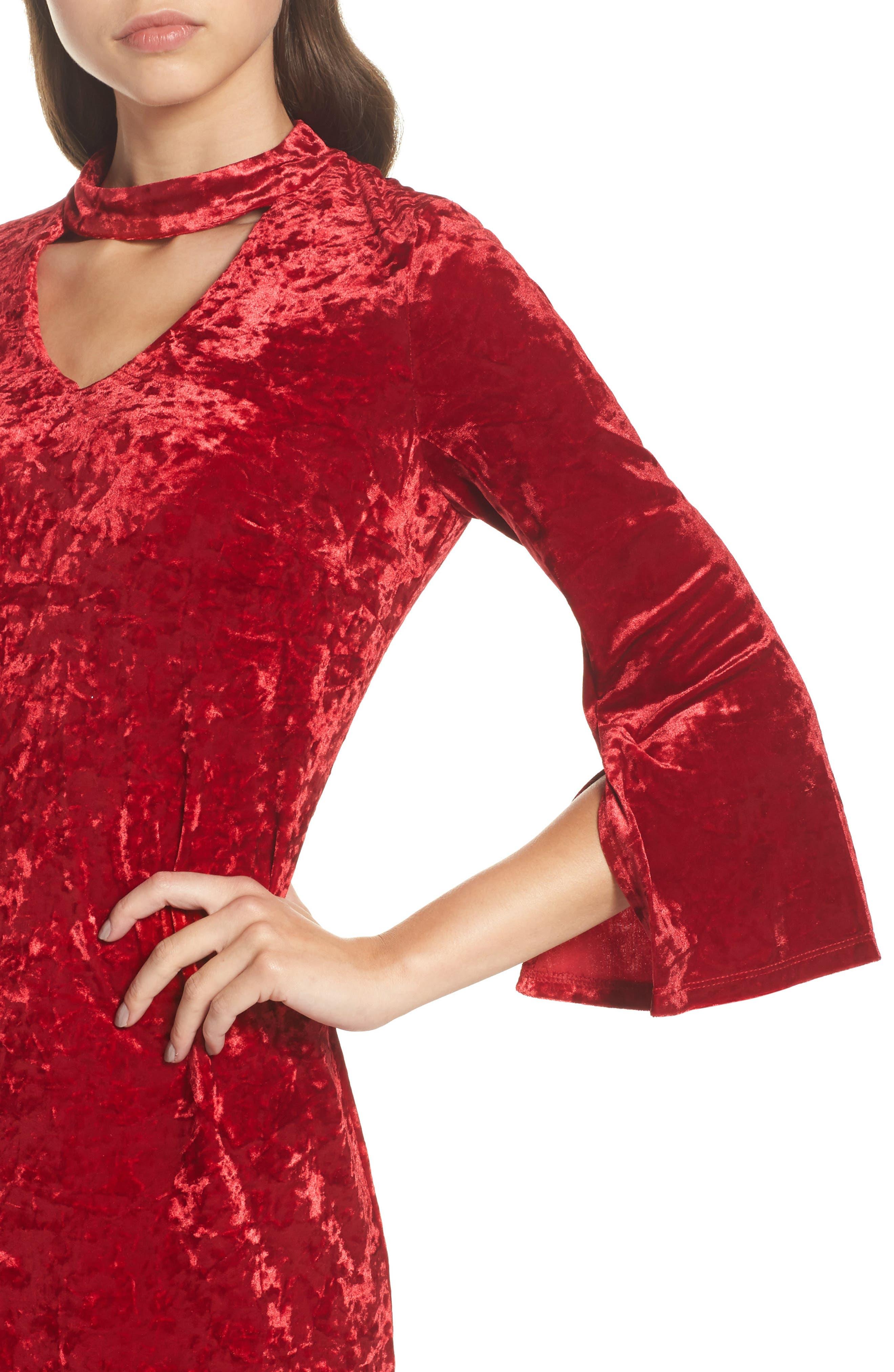 Crushed Velvet Choker Dress,                             Alternate thumbnail 4, color,                             Red