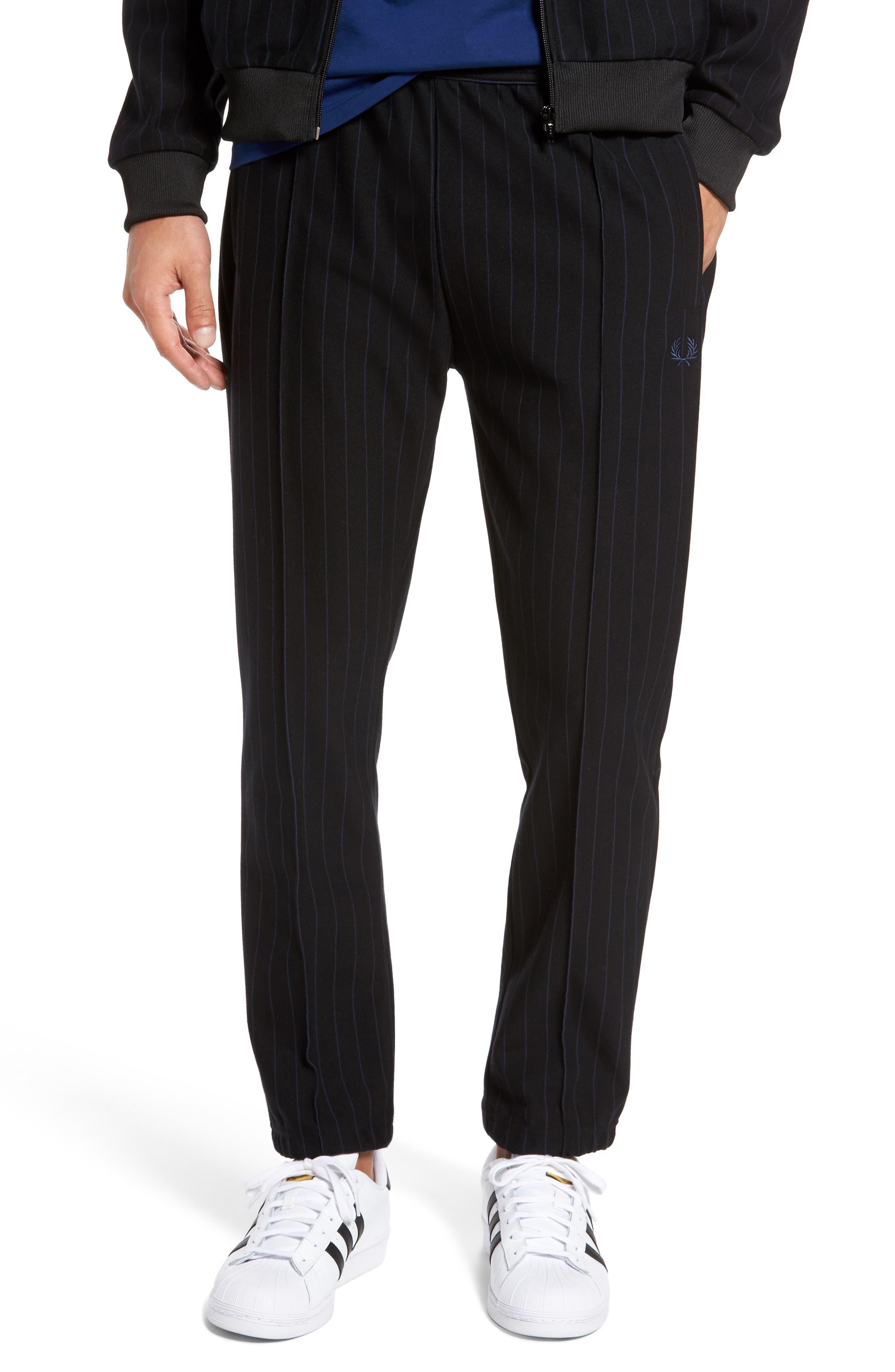 Pinstripe Jogger Pants,                         Main,                         color, Black