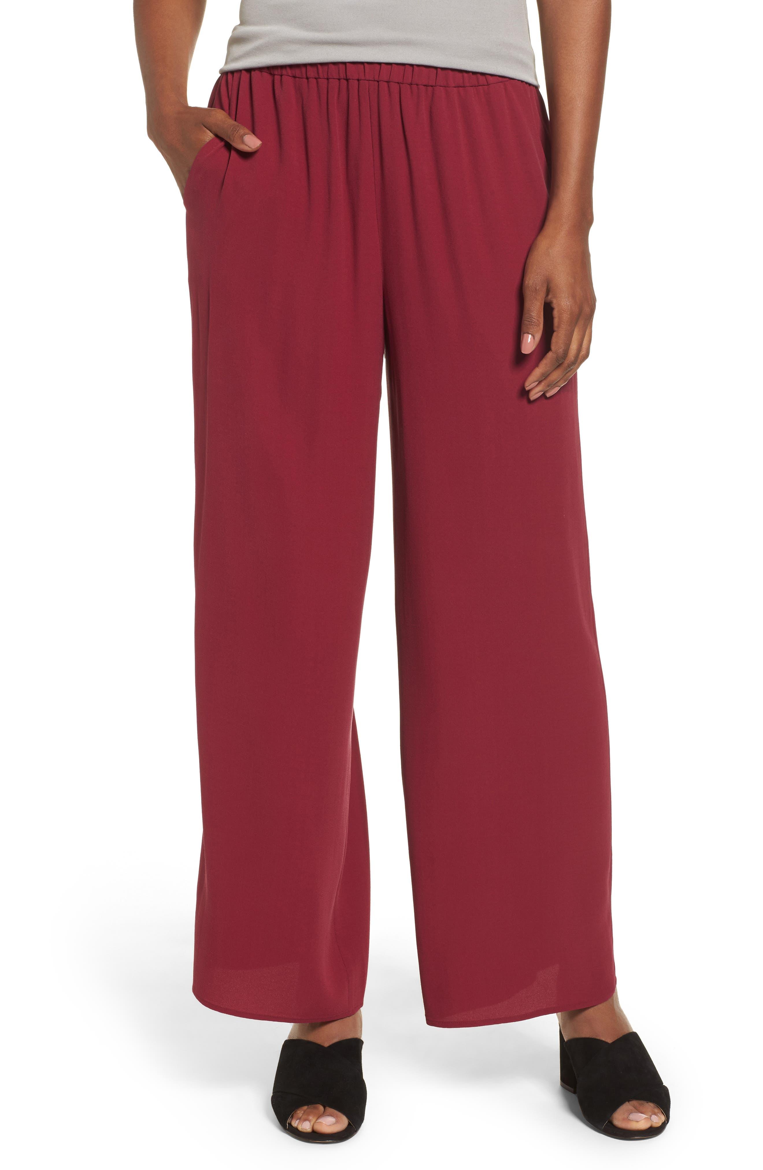 Wide Leg Silk Pants,                         Main,                         color, Hibiscus