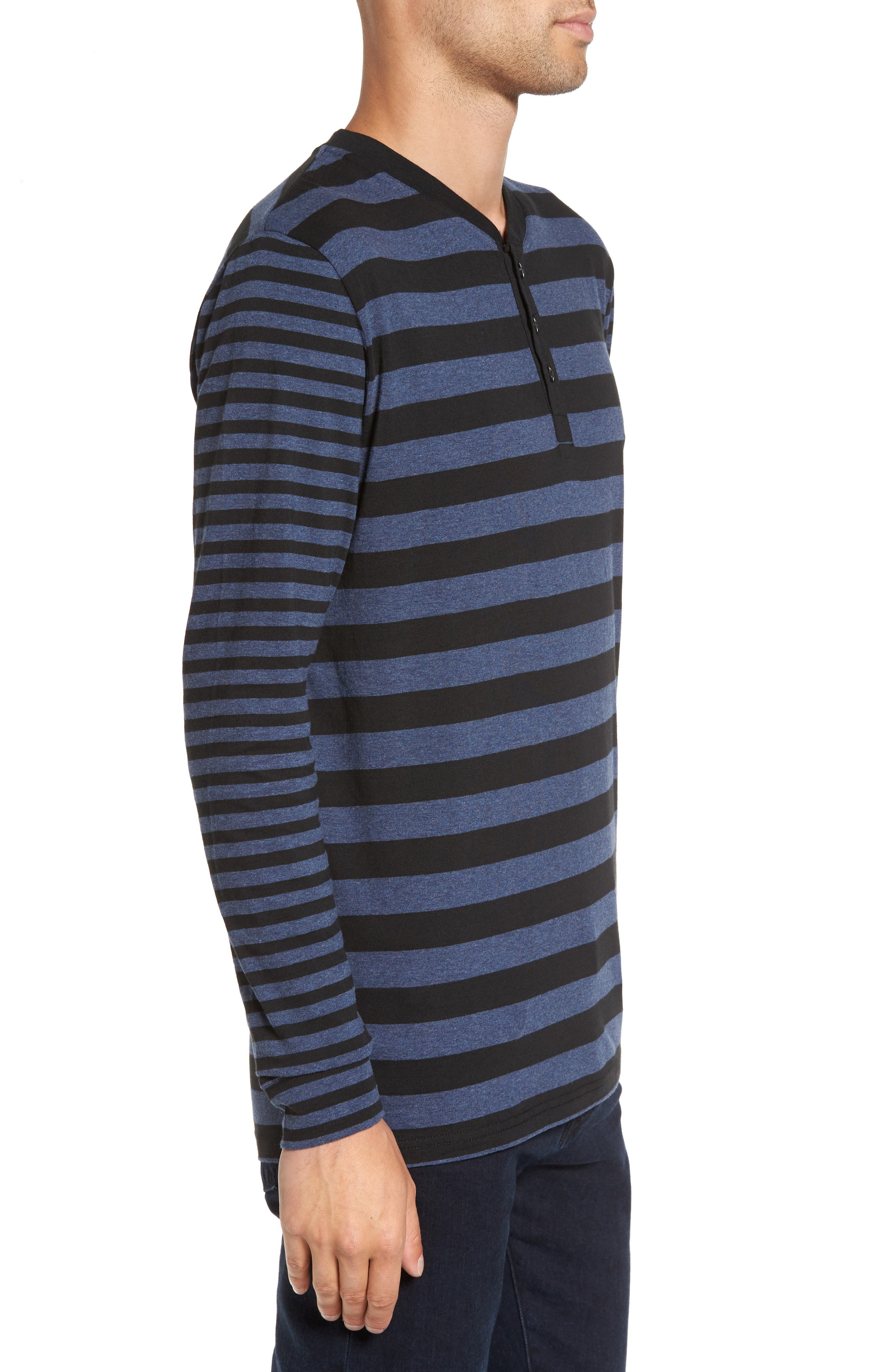 Striped Long Sleeve Henley T-Shirt,                             Alternate thumbnail 3, color,                             Heather Blue/ Black Stripe
