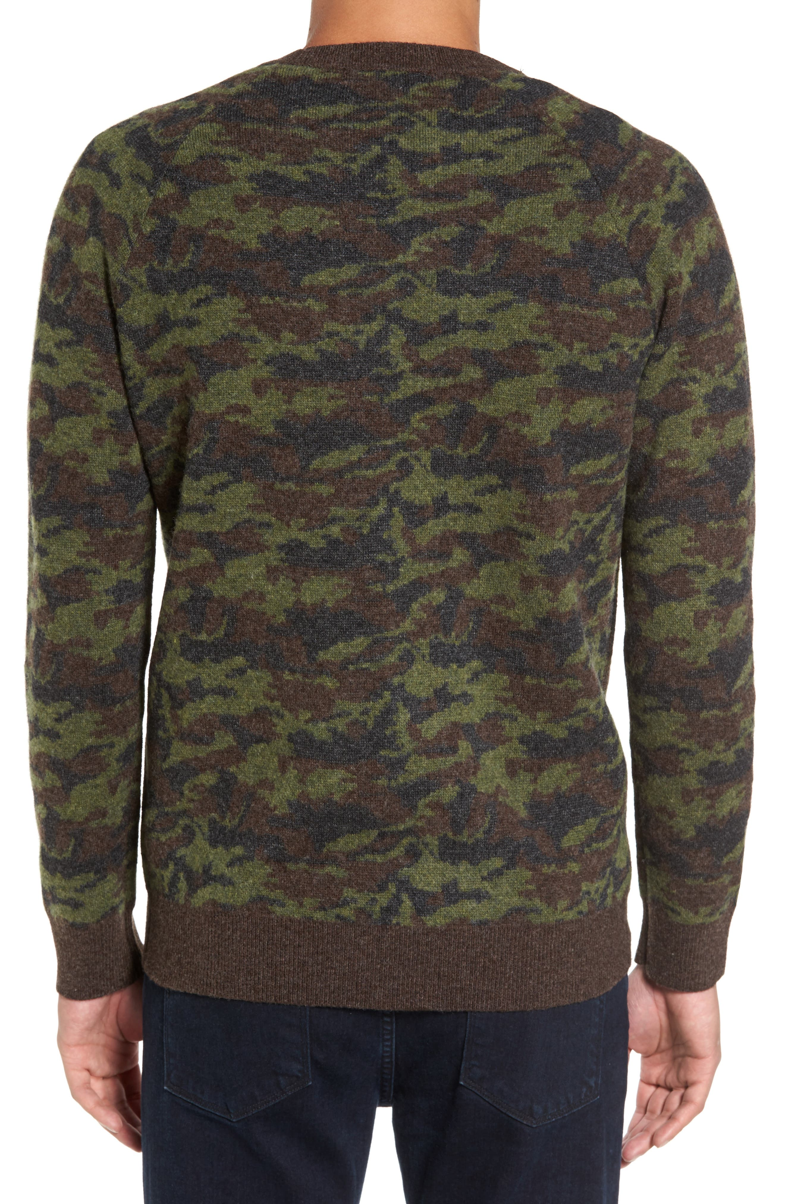 Wool Camo Sweater,                             Alternate thumbnail 2, color,                             Green Camo