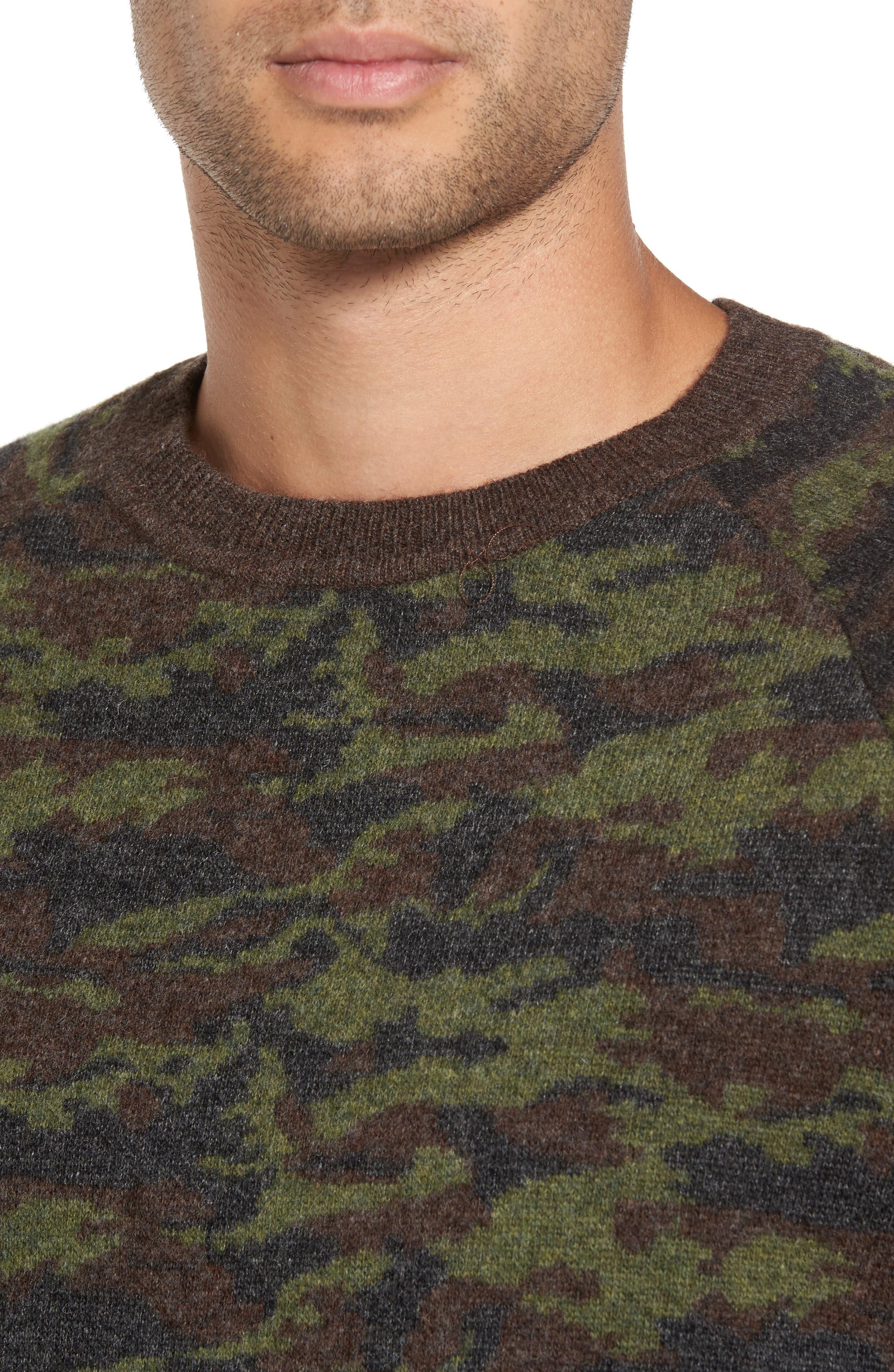 Wool Camo Sweater,                             Alternate thumbnail 4, color,                             Green Camo