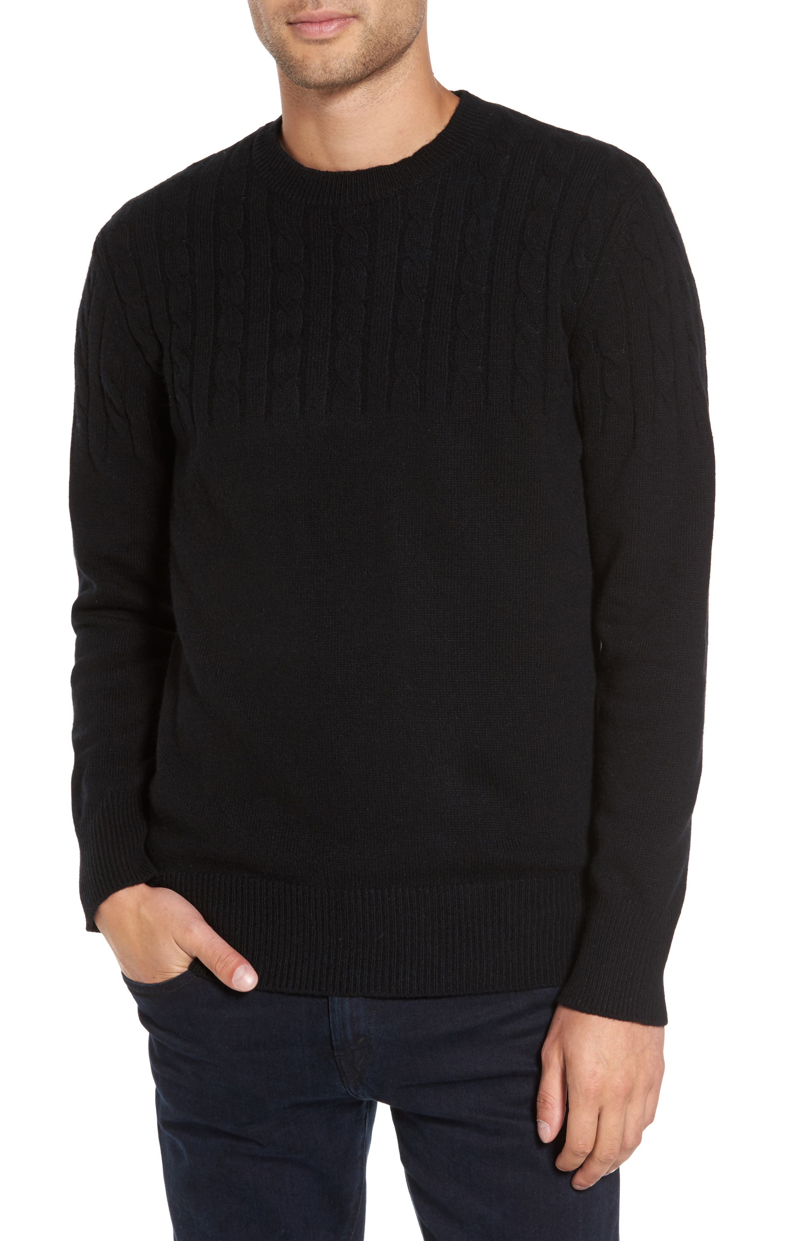 Wool Cable Knit Sweater,                         Main,                         color, Black
