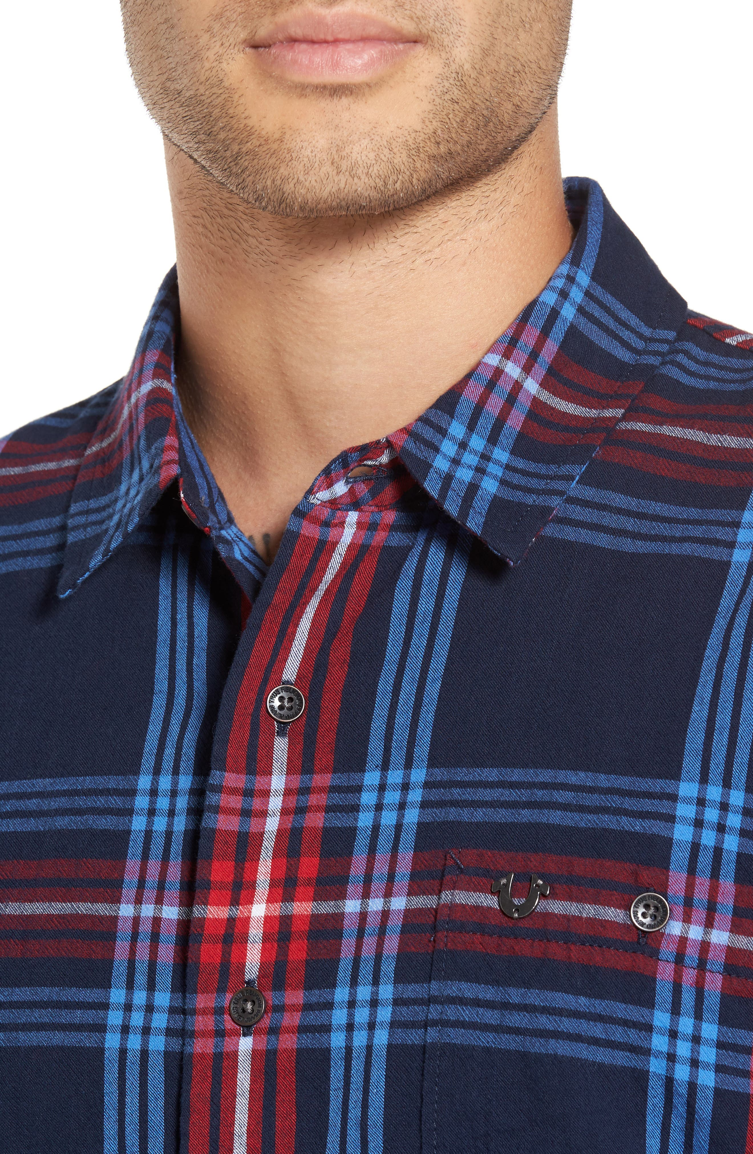 Alternate Image 4  - True Religion Brand Jeans Raw Edge Plaid Woven Shirt