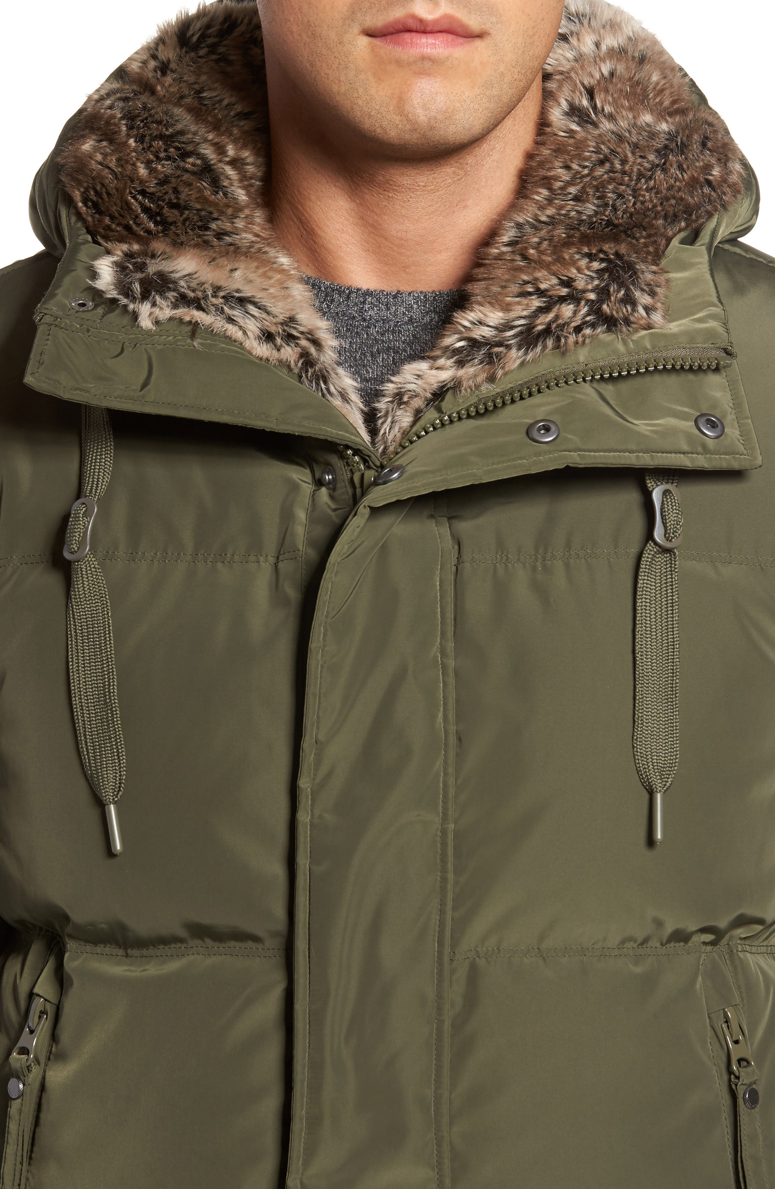Athlone Faux Fur Down Jacket,                             Alternate thumbnail 4, color,                             Moss