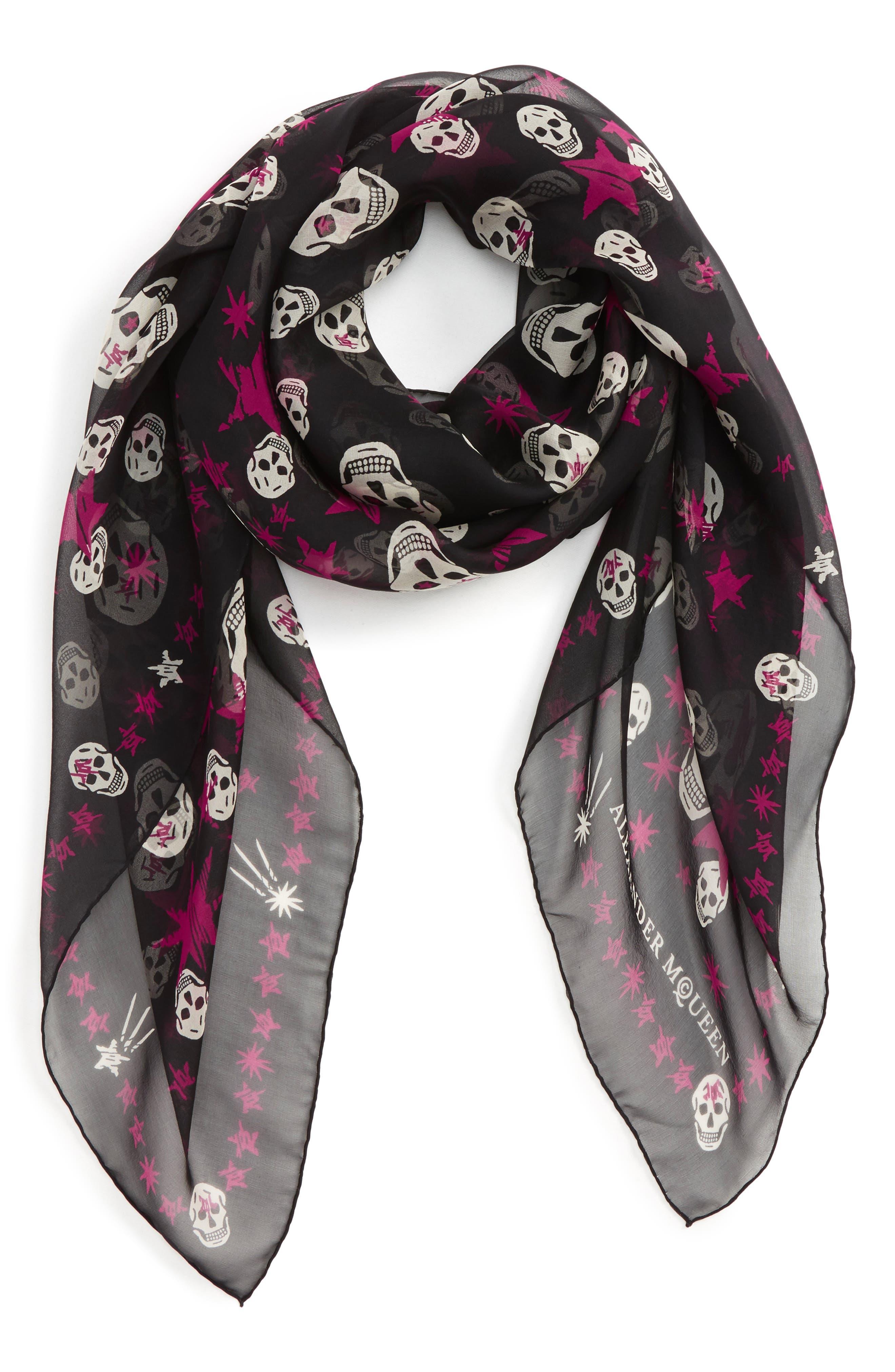 Starlight Skull Silk Chiffon Scarf,                         Main,                         color, Black/ Ivory