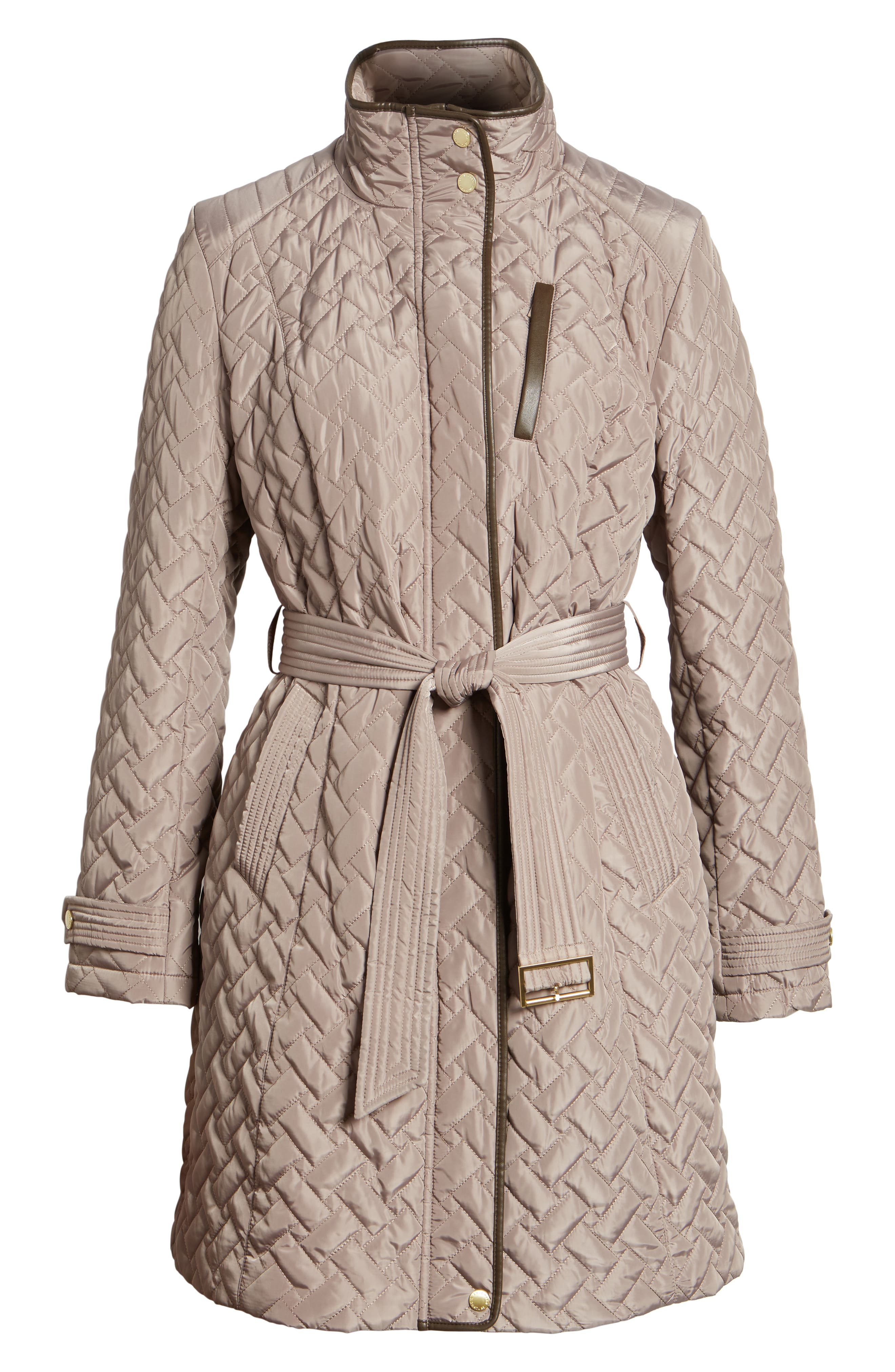 Belted Quilted Coat,                             Alternate thumbnail 7, color,                             Cashew