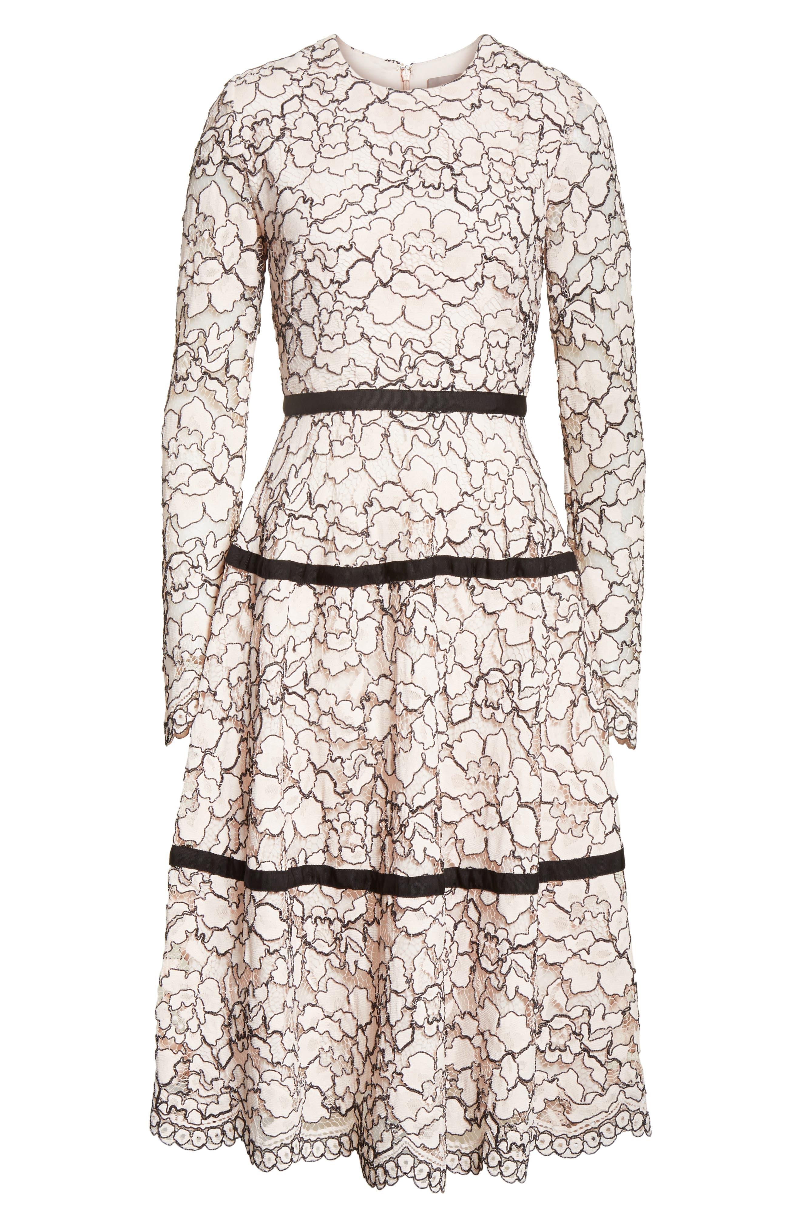 Alternate Image 7  - Lela Rose Seamed Lace A-Line Dress