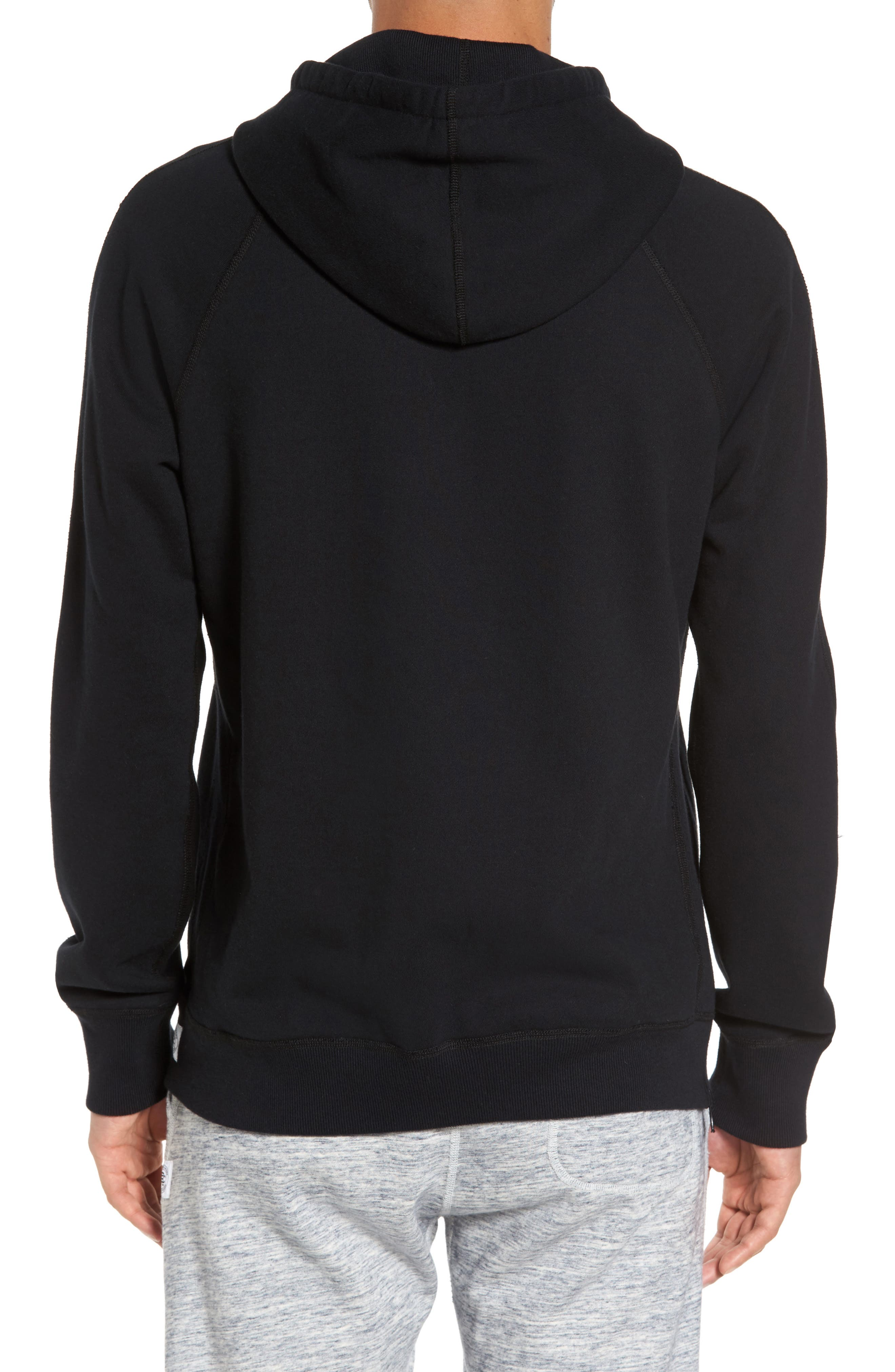 French Terry Hoodie,                             Alternate thumbnail 2, color,                             Black