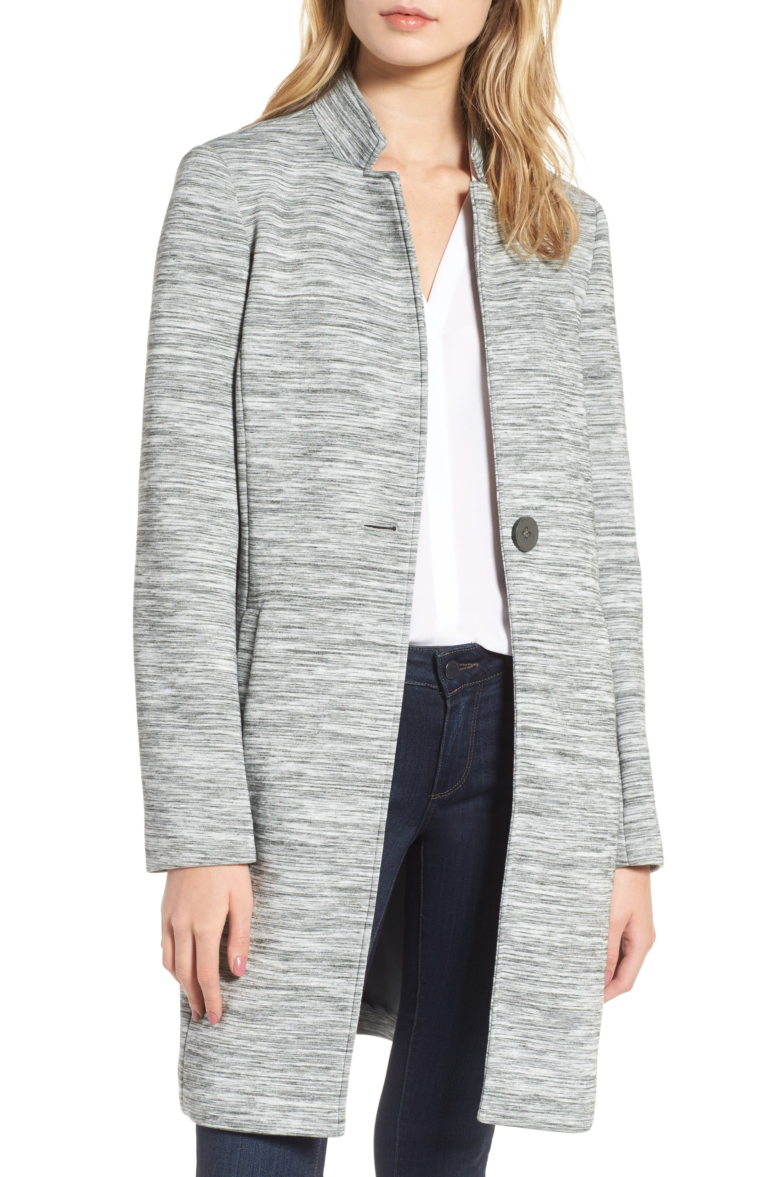 Knit Coat,                             Main thumbnail 1, color,                             Light Grey