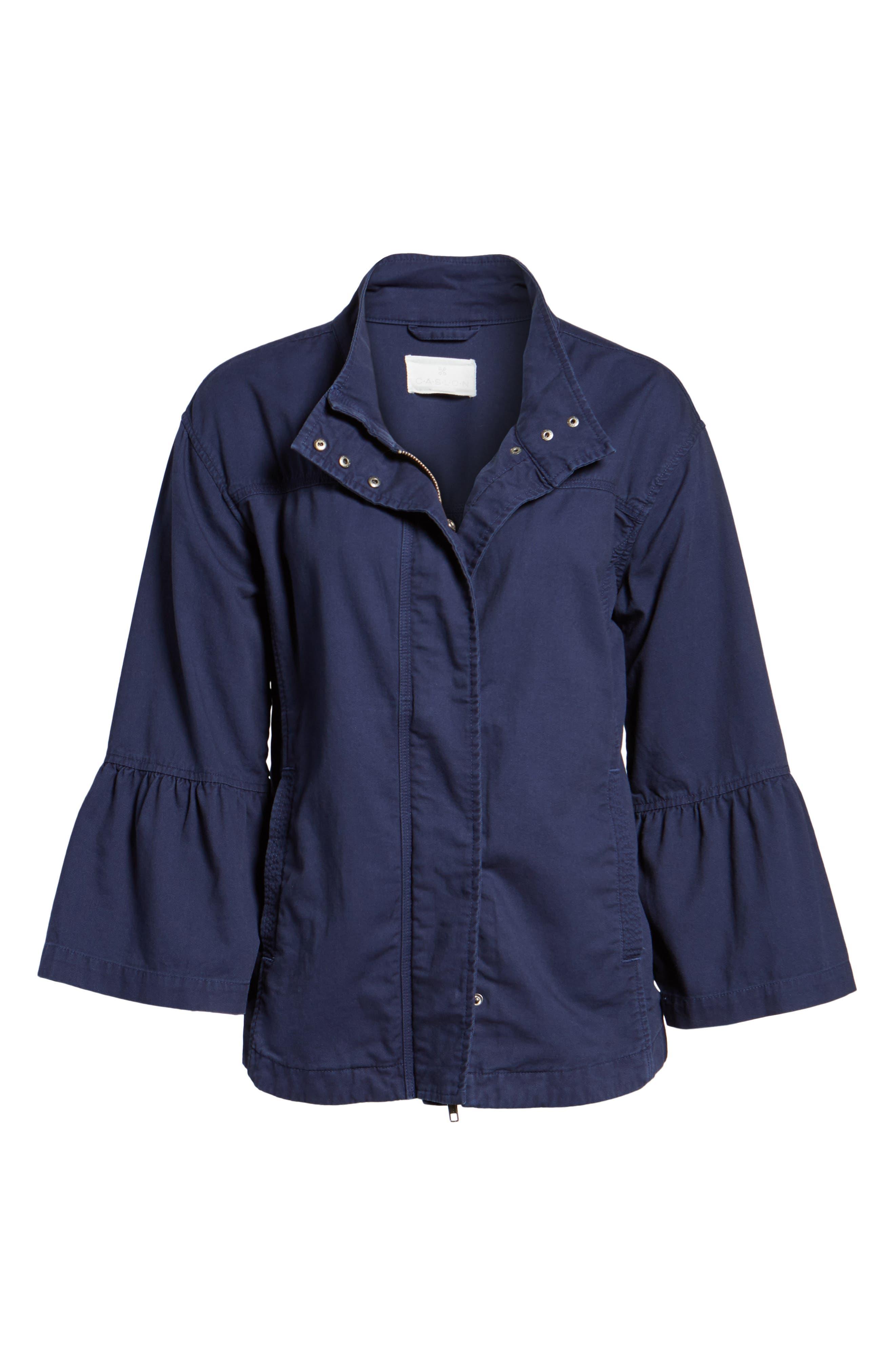 Flare Sleeve Utility Jacket,                             Alternate thumbnail 6, color,                             Navy