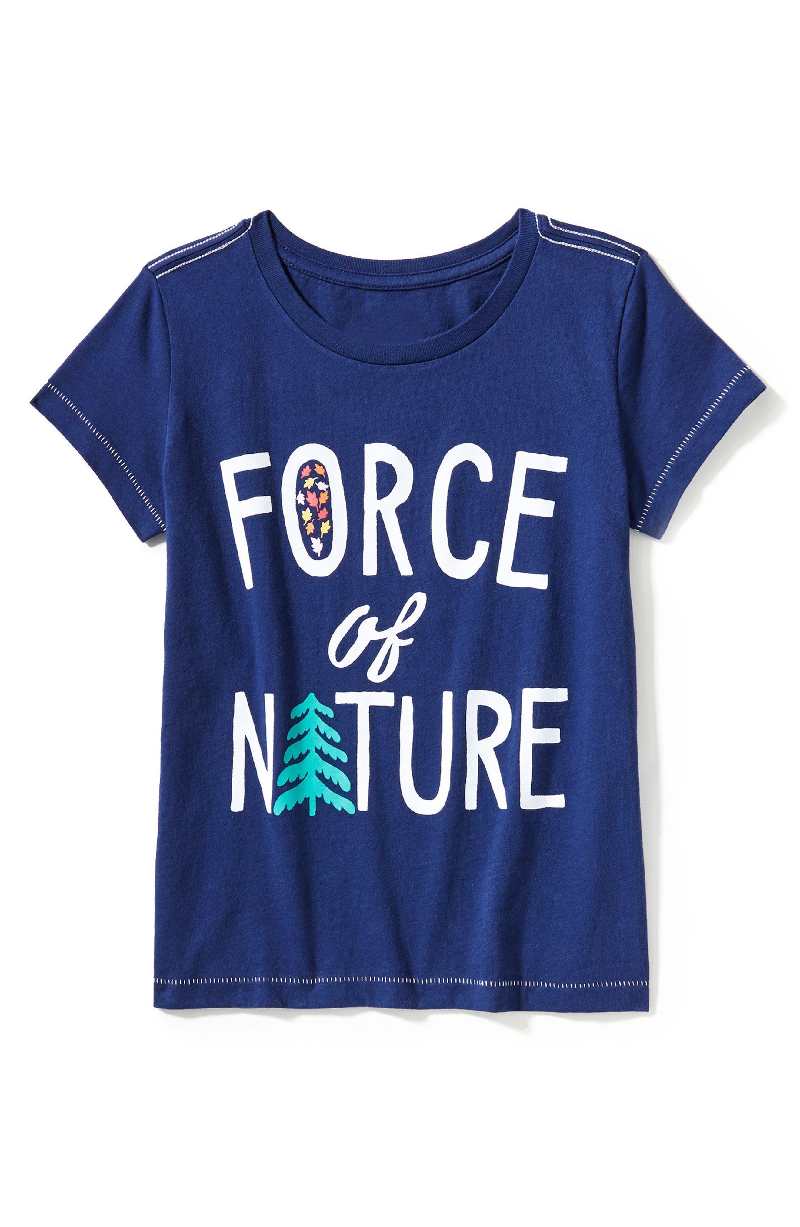 Alternate Image 1 Selected - Peek Force of Nature Graphic Tee (Toddler Girls, Little Girls & Big Girls)