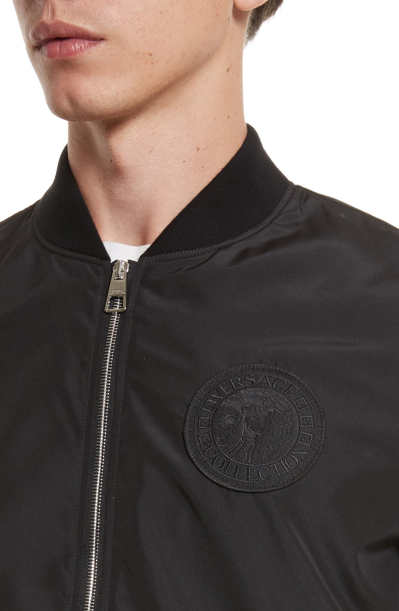 Bomber Jacket with Patch,                             Alternate thumbnail 4, color,                             Black