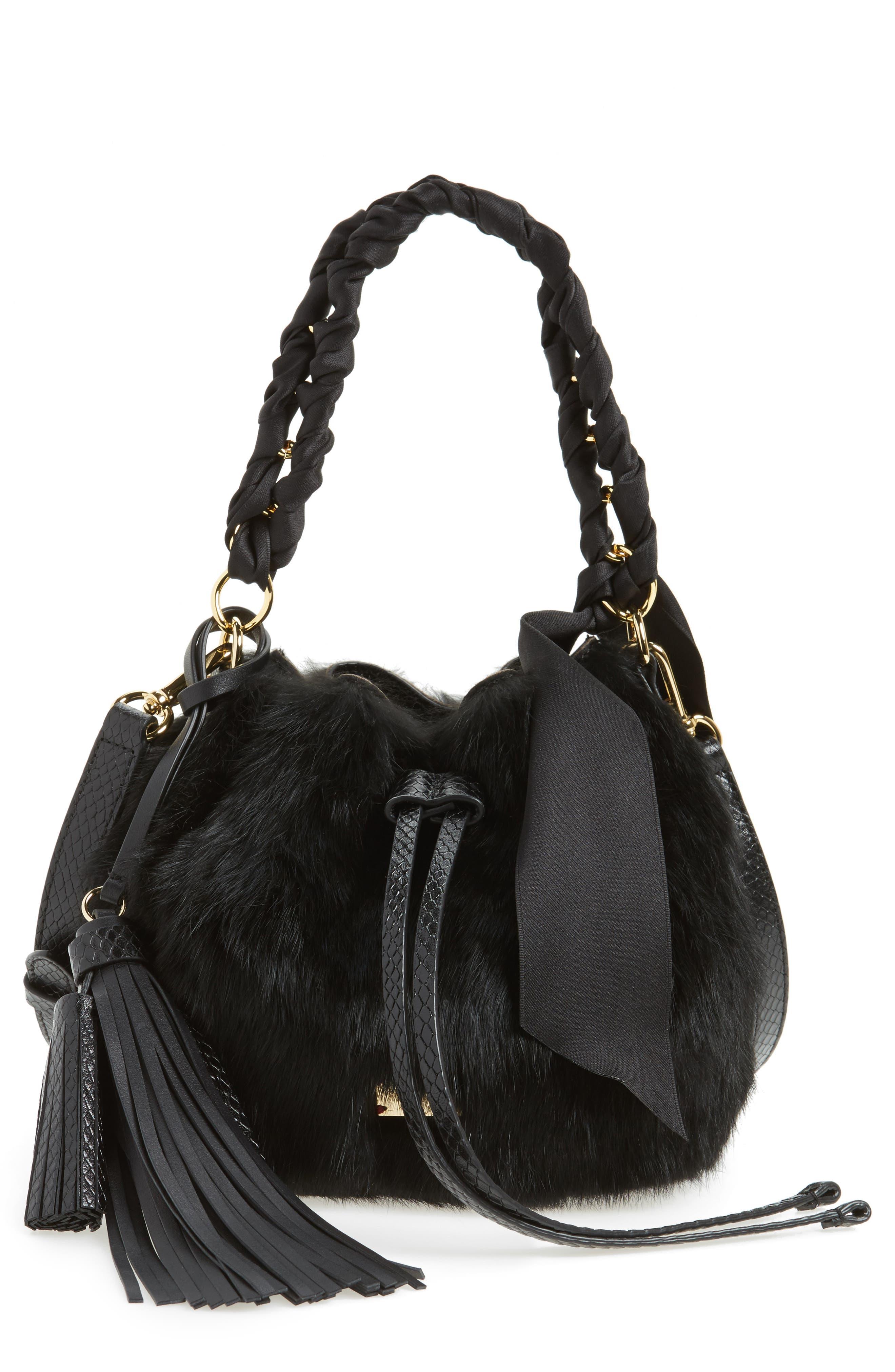 Small Genuine Rabbit Fur & Leather Bucket Bag,                             Main thumbnail 1, color,                             Black