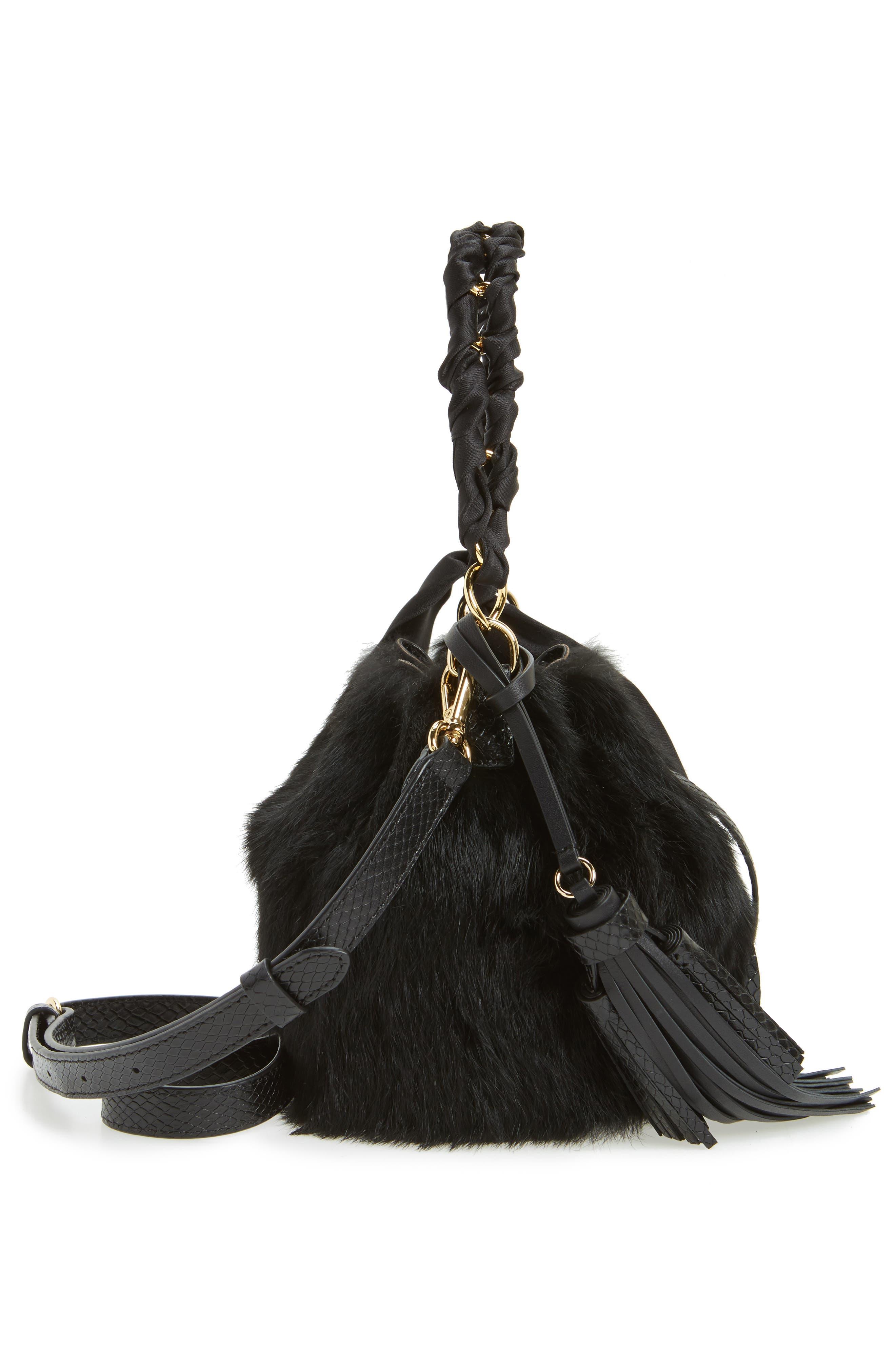 Small Genuine Rabbit Fur & Leather Bucket Bag,                             Alternate thumbnail 5, color,                             Black
