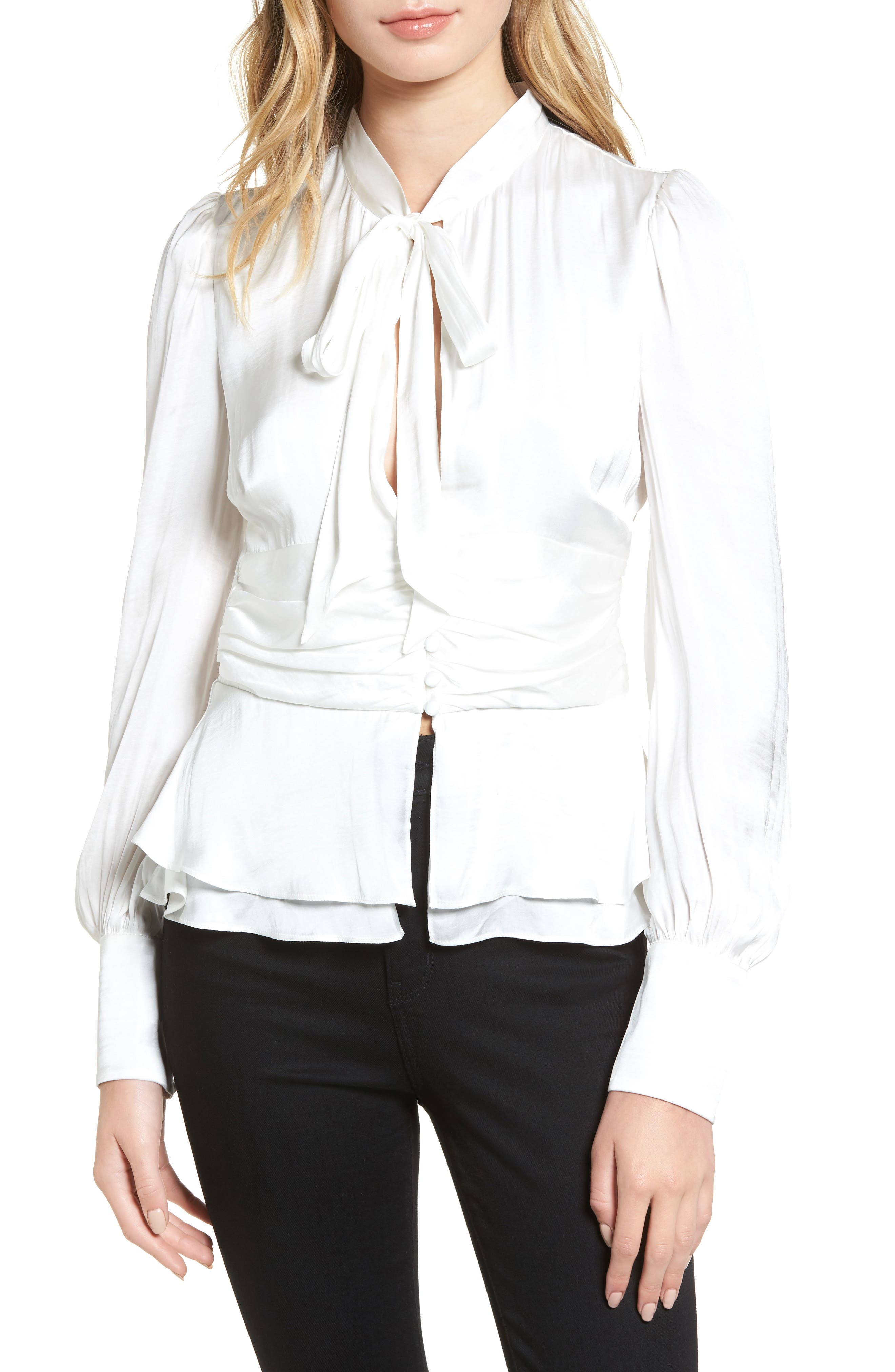 Bardot Tie Front Blouse