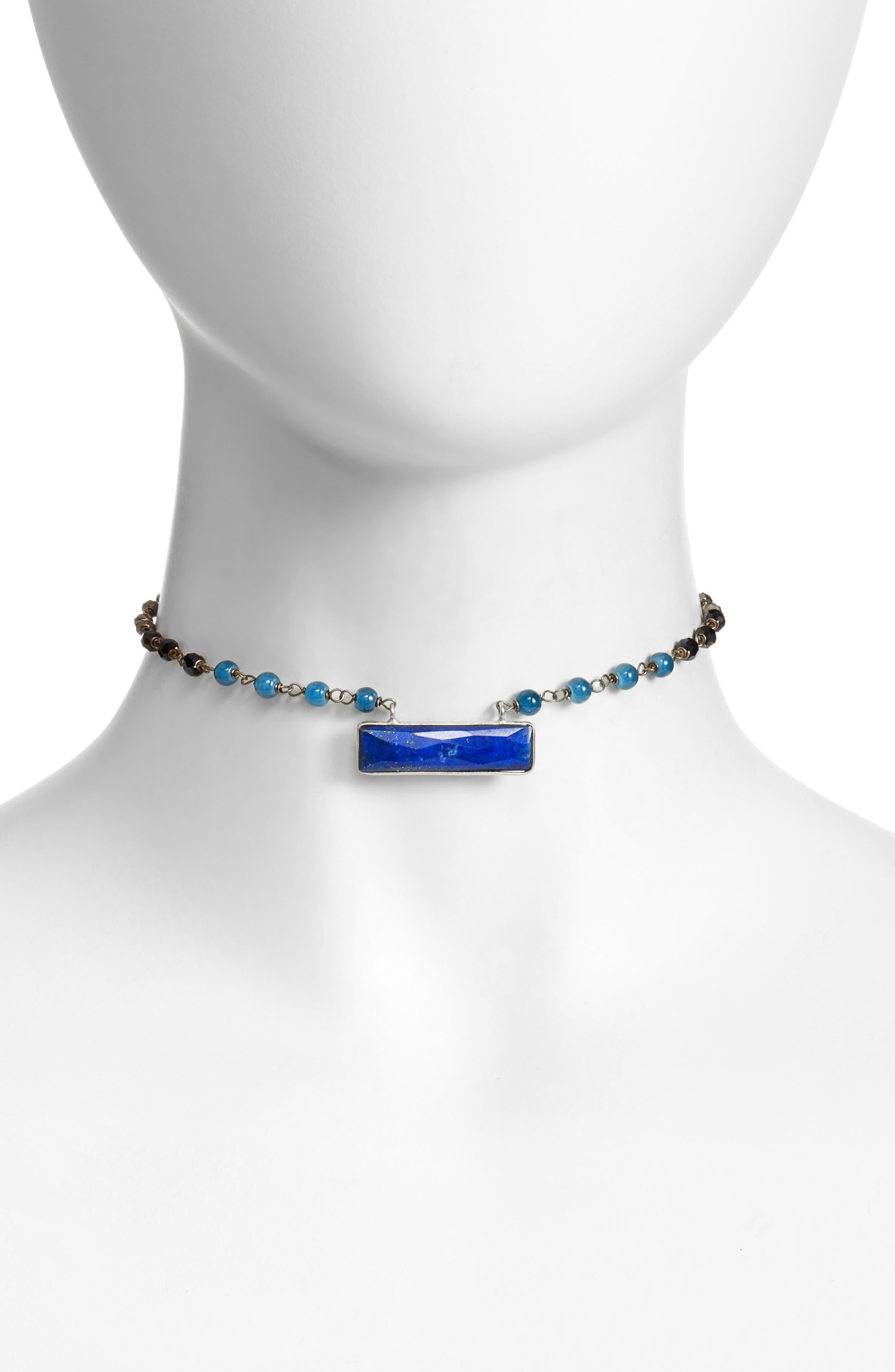 Stone Pendant Choker,                         Main,                         color, Blue