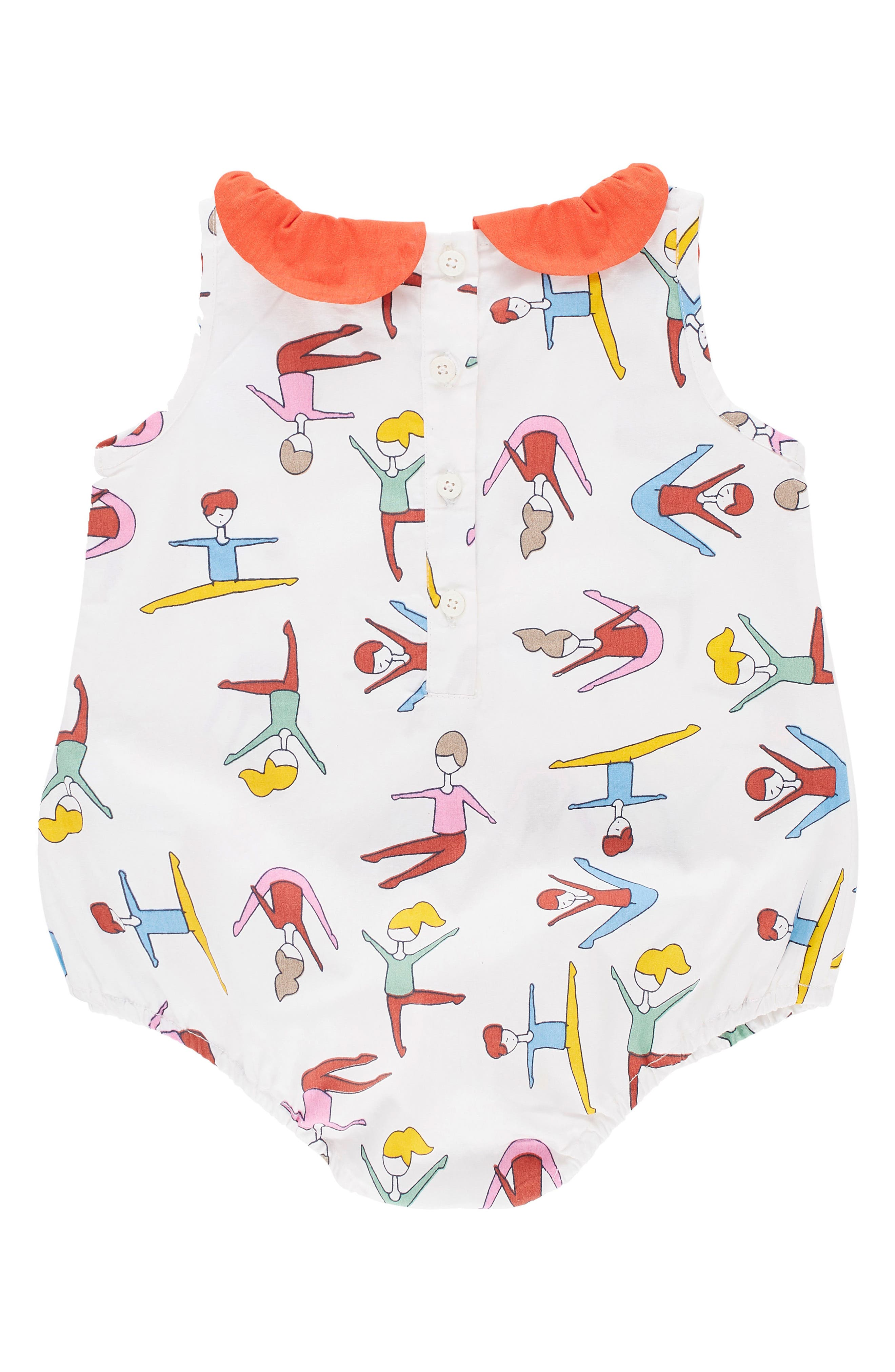 Alternate Image 2  - Margherita Stretching Print Bubble Bodysuit (Baby Girls)