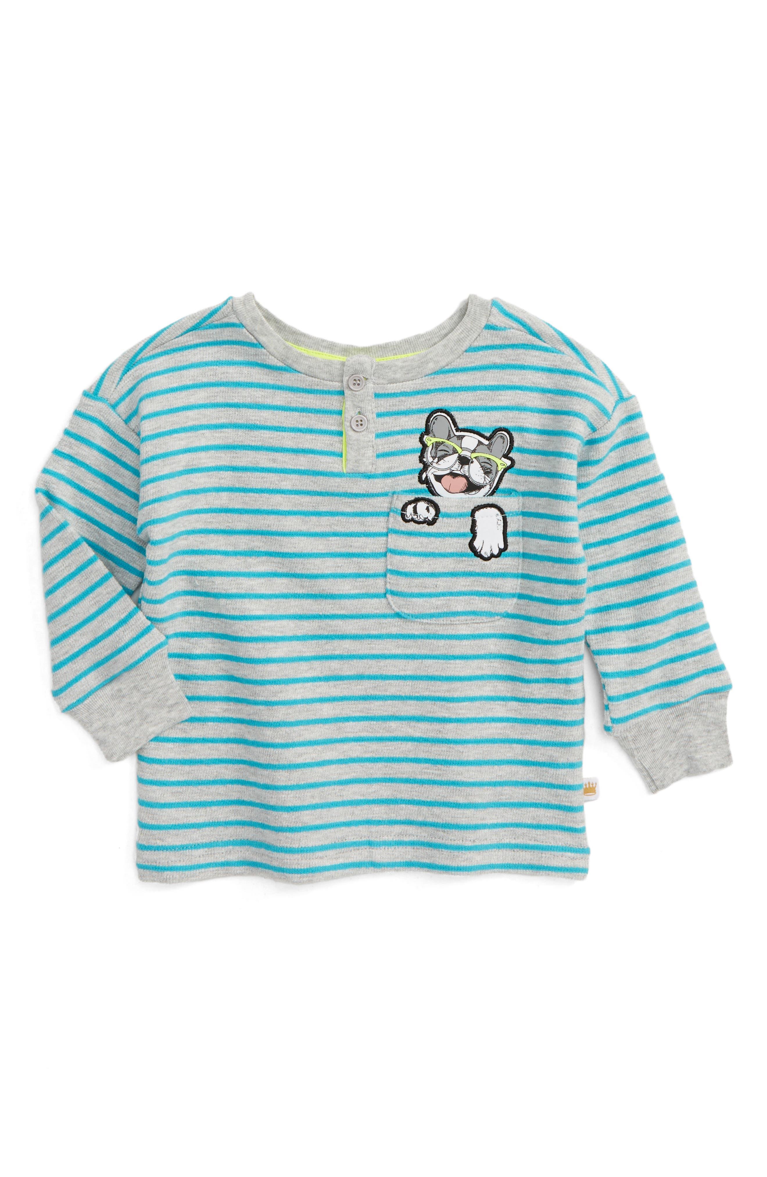 Rosie Pope Pocket Pup Appliqué Stripe Shirt (Baby Boys)