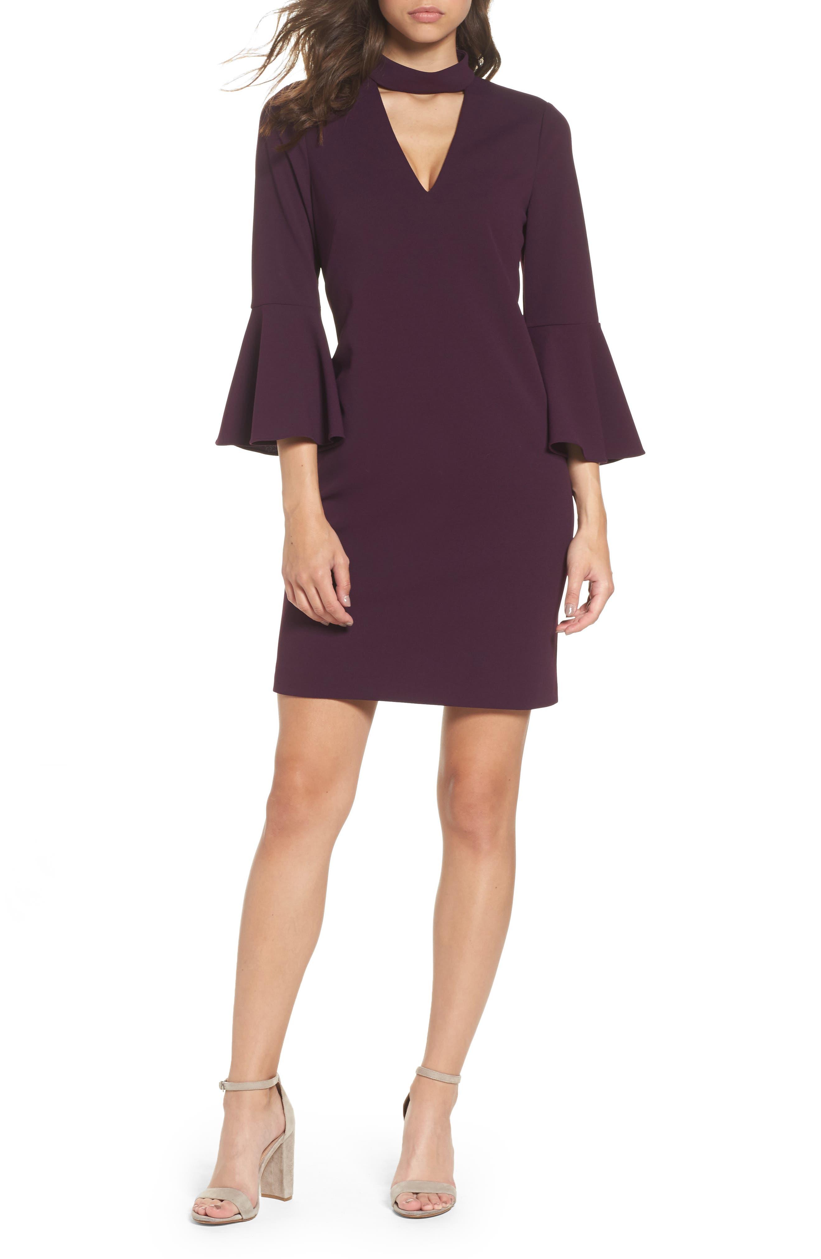 Choker Bell Sleeve Shift Dress,                         Main,                         color, Purple