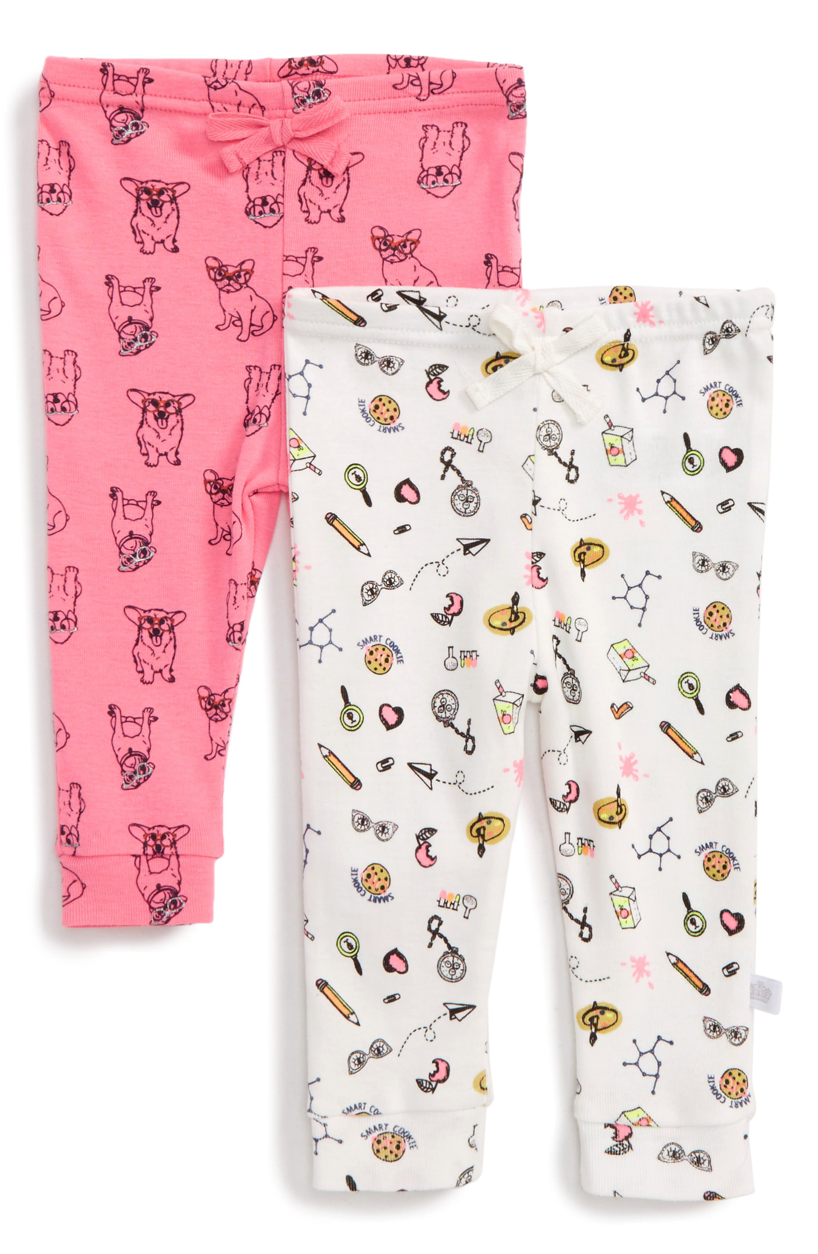 Smart Cookie 2-Pack Print Pants,                             Main thumbnail 1, color,                             Pink